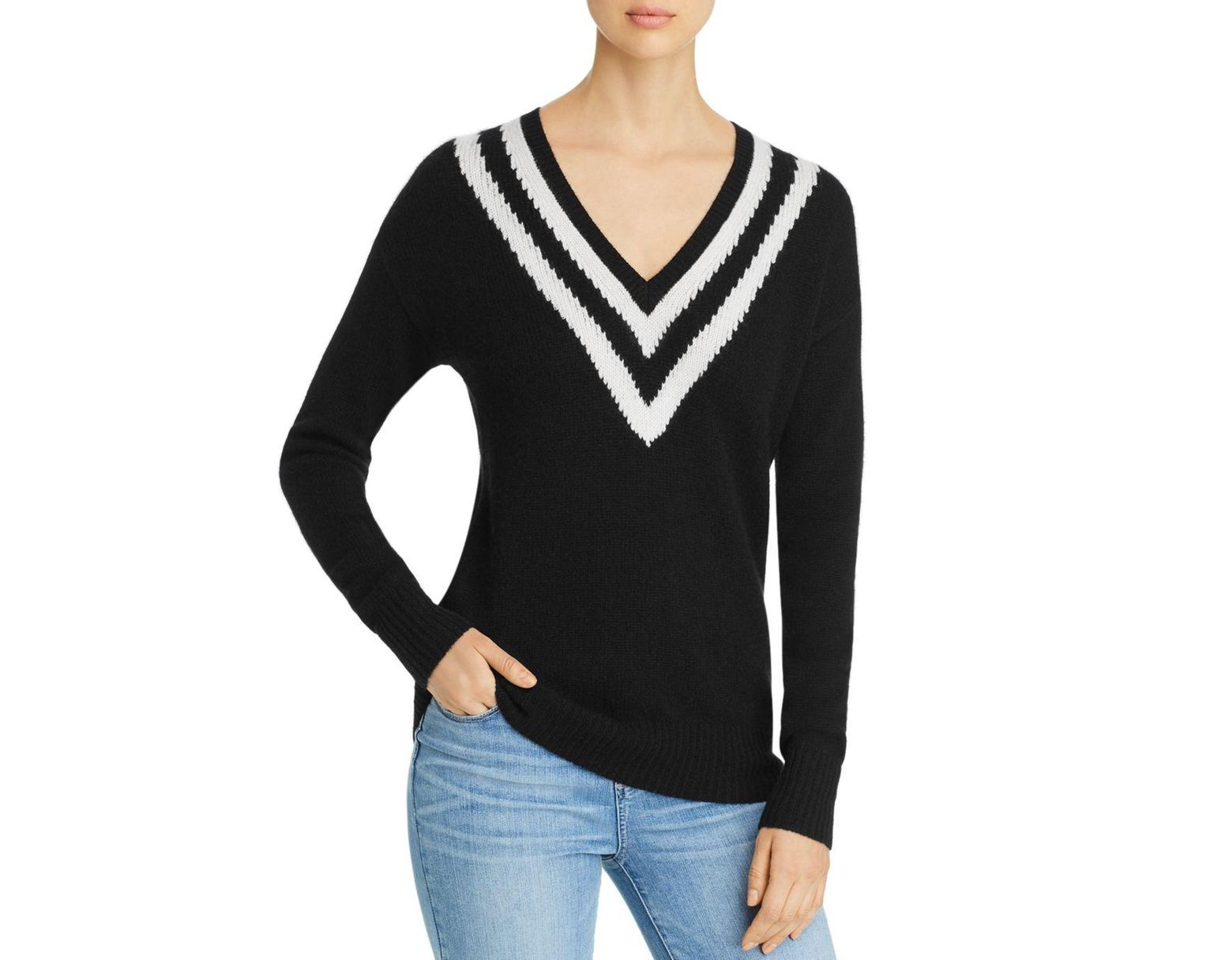 e60aac51766 C By Bloomingdale's Varsity - Stripe Cashmere Sweater in Black - Lyst