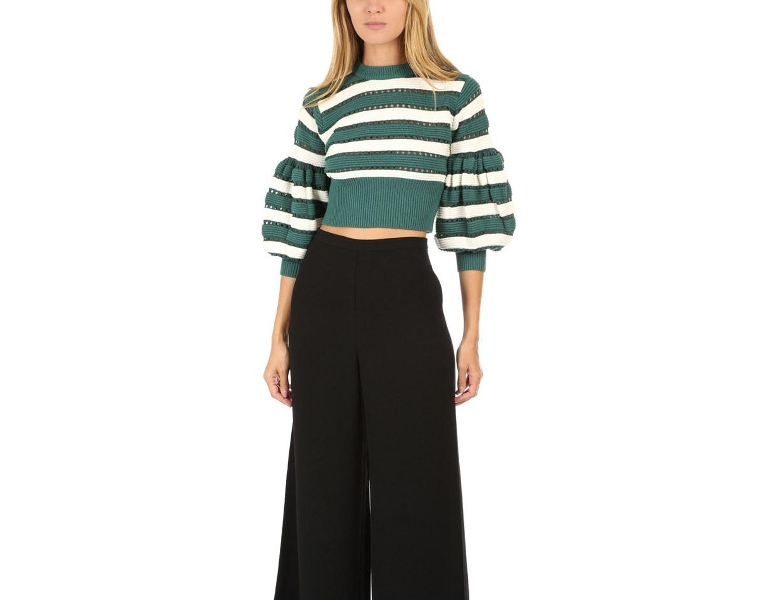 43e5400dd250 Self-Portrait Balloon Sleeve Striped Cropped Sweater in Green - Save 55% -  Lyst