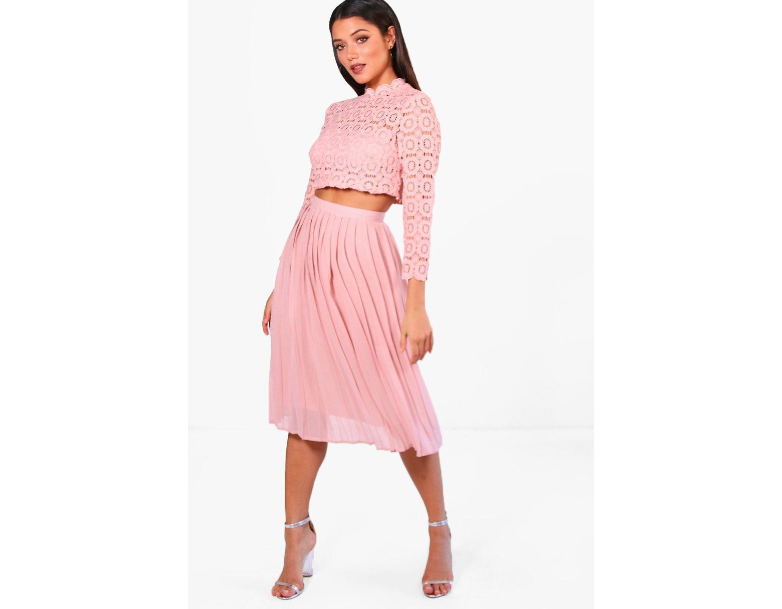 551d92216 Boohoo Boutique Lace Top And Midi Skirt Set in Pink - Lyst