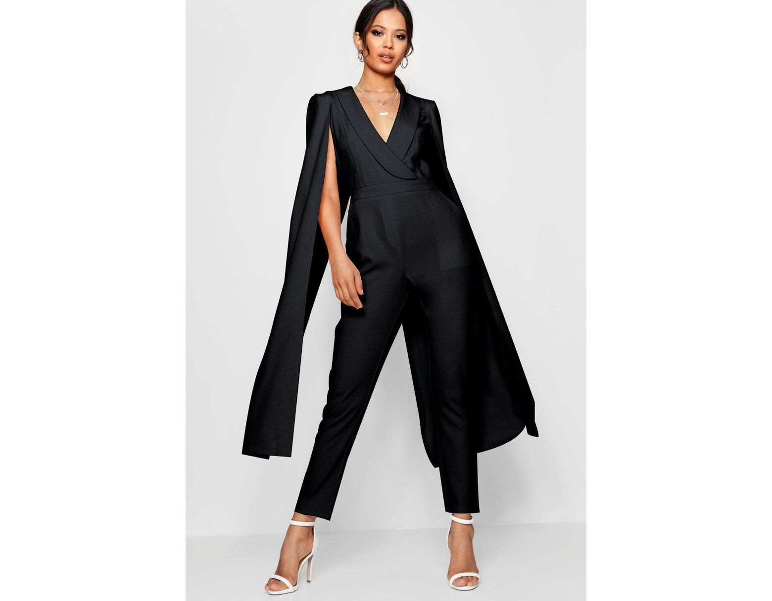 e4ba1b0df7 Boohoo Cape Woven Tailored Jumpsuit in Black - Lyst