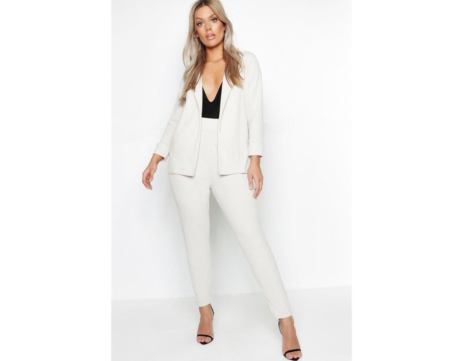 ce15cbe06c48 Boohoo Plus Blazer & Pants Suit Co-ord in White - Lyst