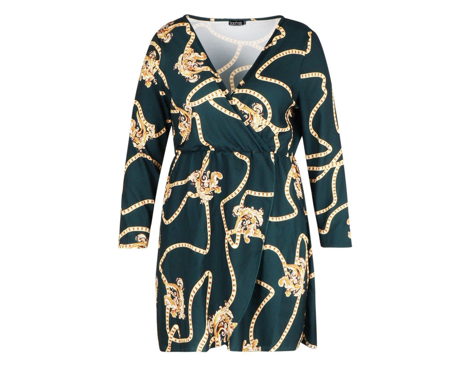 7b21bc2505641 Boohoo Plus Chain Printed Wrap Dress in Green - Lyst