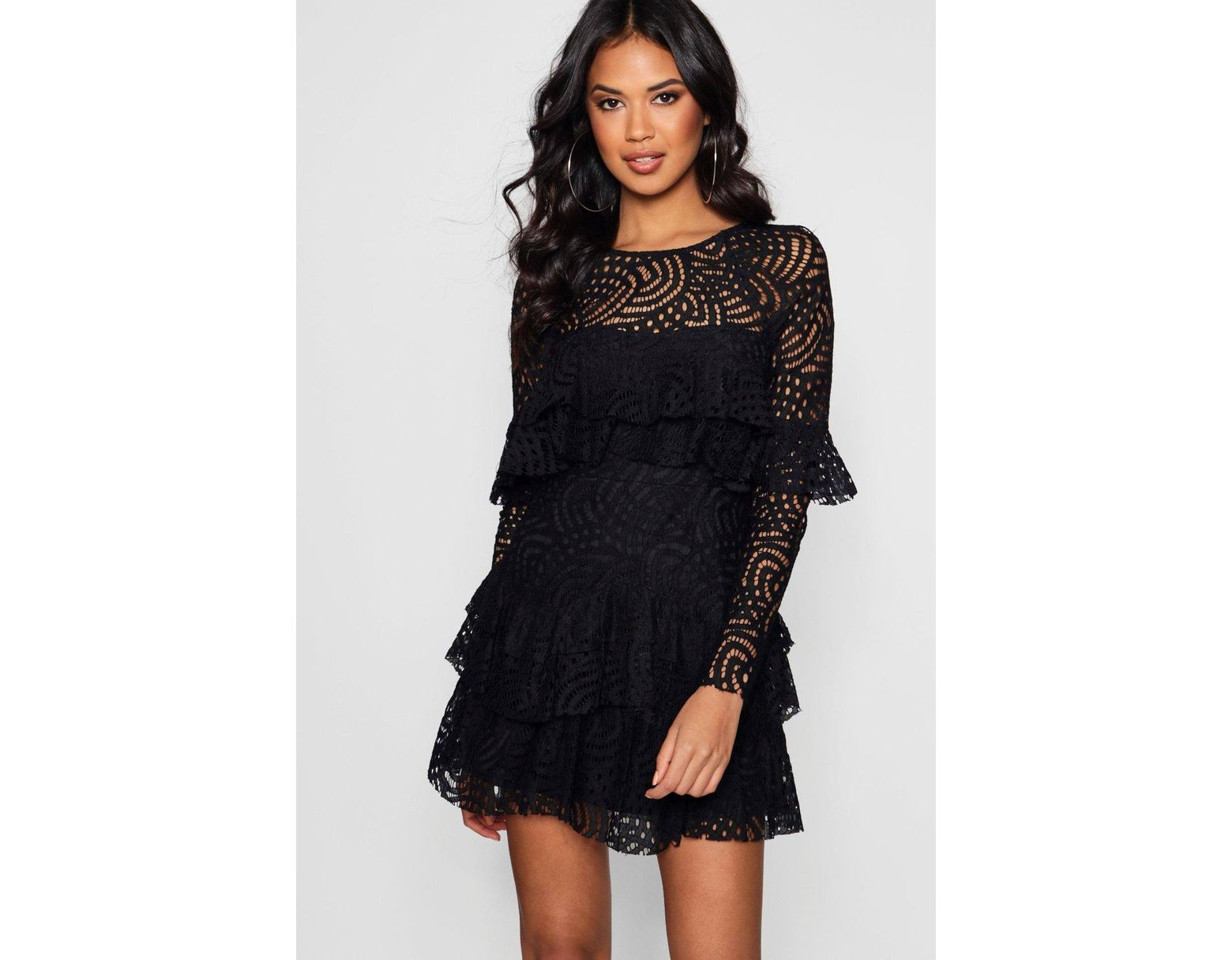 75839517e86a Boohoo Boutique Lace Ruffle Skater Dress in Black - Lyst