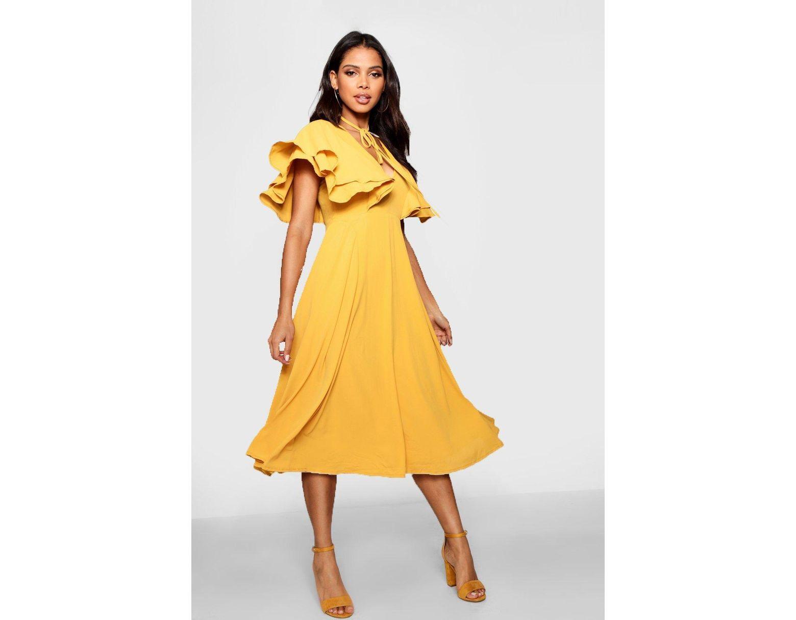 a2d52dc2cd2f Boohoo Ruffle Angel Sleeve Bolo Tie Midi Dress in Yellow - Lyst