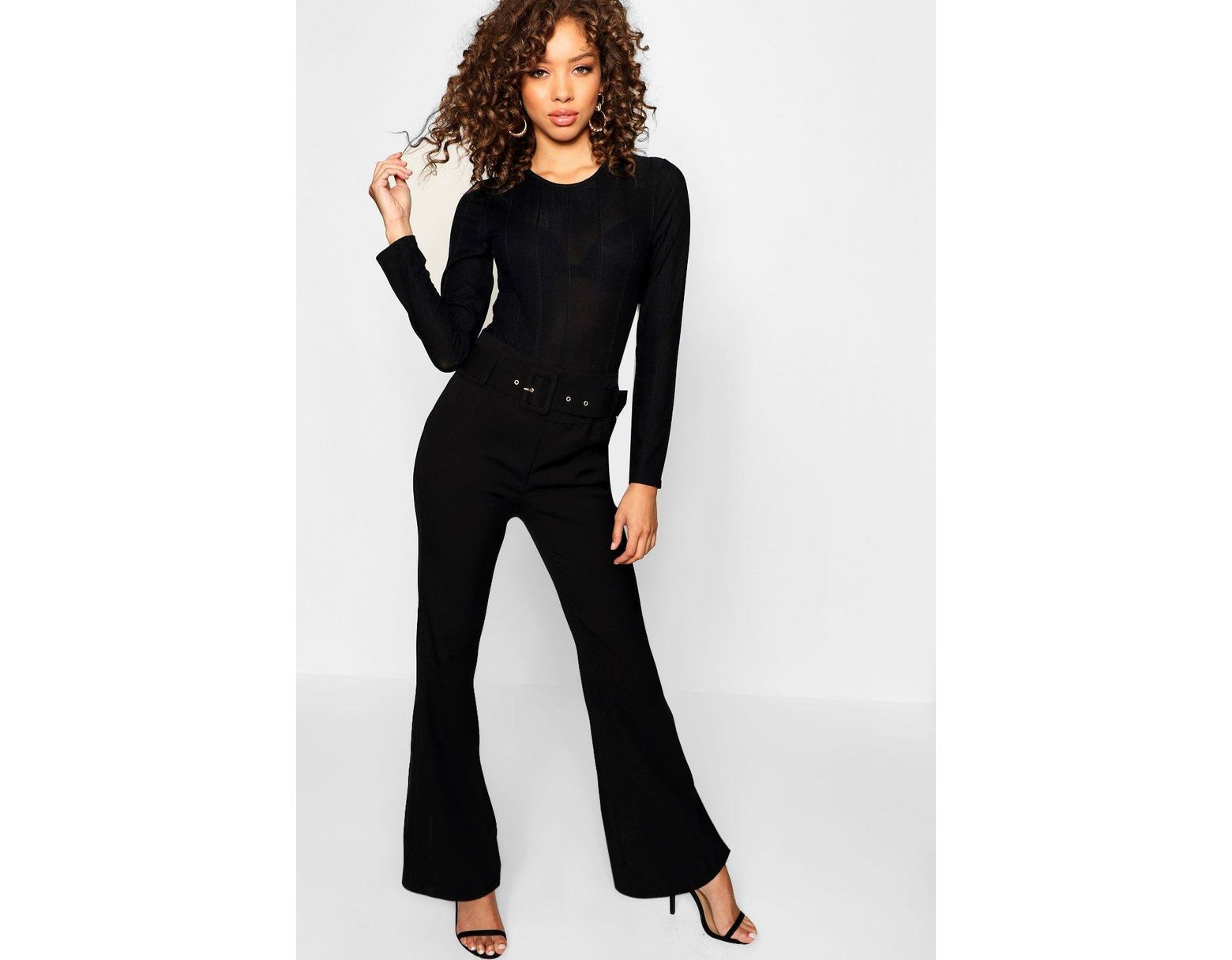 db5bd6444da7 Lyst - Boohoo Kick Flare Wide Leg Pants in Black