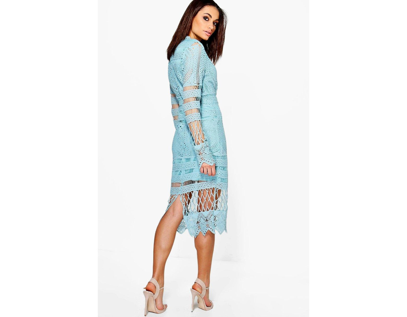 5c9a3f39347f Boohoo Boutique Lace Panelled Midi Dress in Blue - Lyst