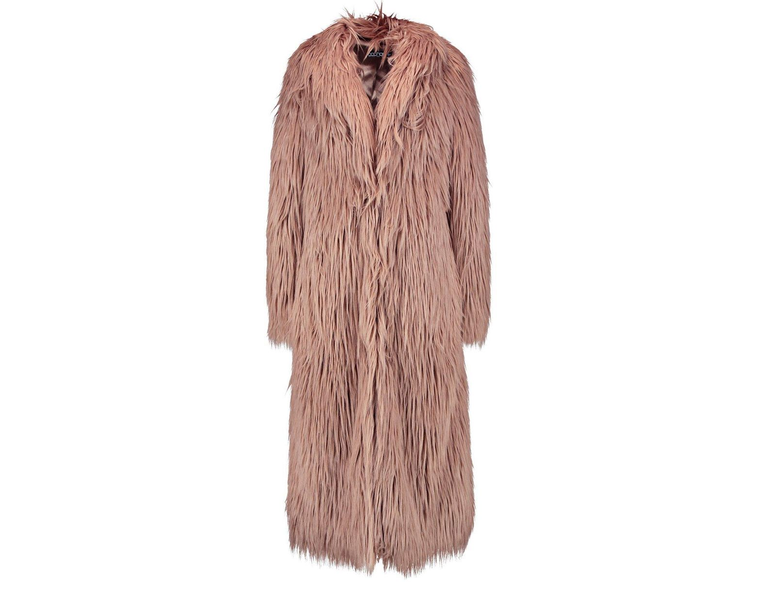 4a514a5af8326 Boohoo Tall Boutique Maxi Faux Fur Coat in Pink - Lyst