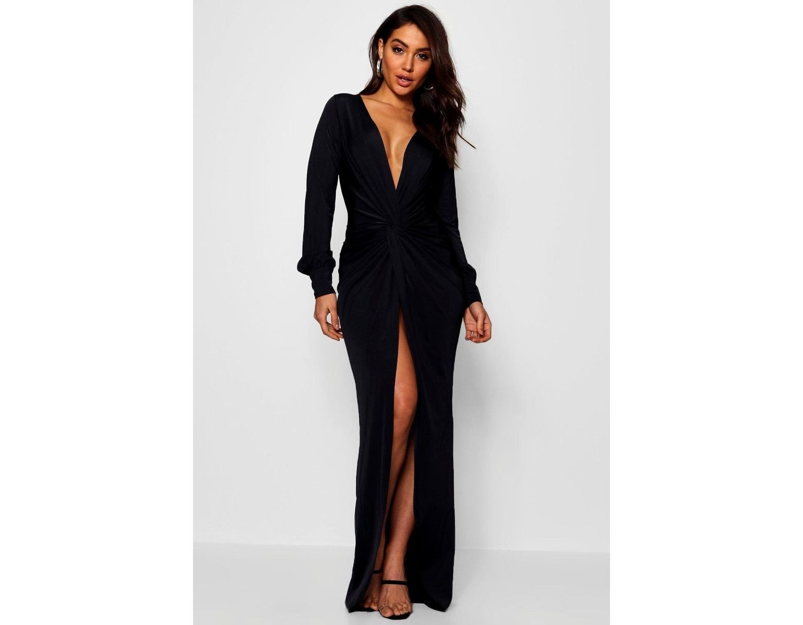 1fc2e110250 Boohoo Daria Twist Front Plunge Slinky Maxi Dress in Black - Lyst