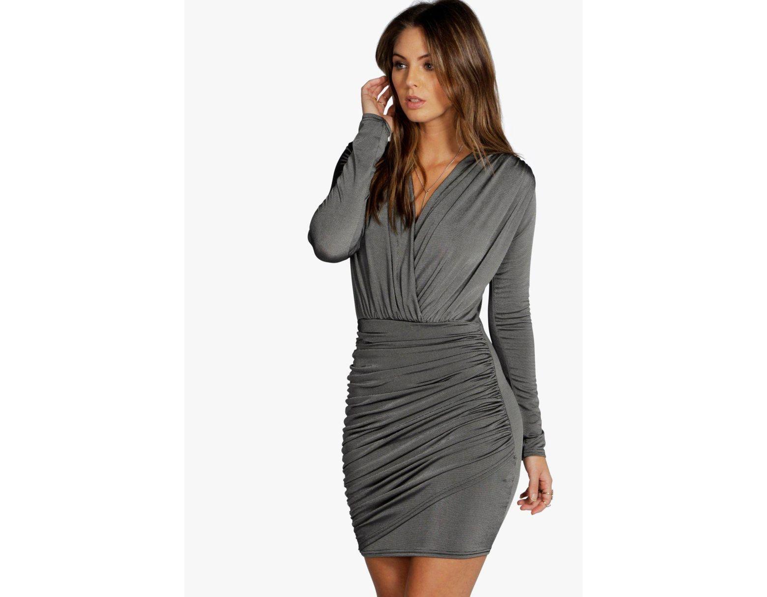 a5b59fbf83 Boohoo Slinky Wrap Long Sleeve Bodycon Dress in Gray - Lyst