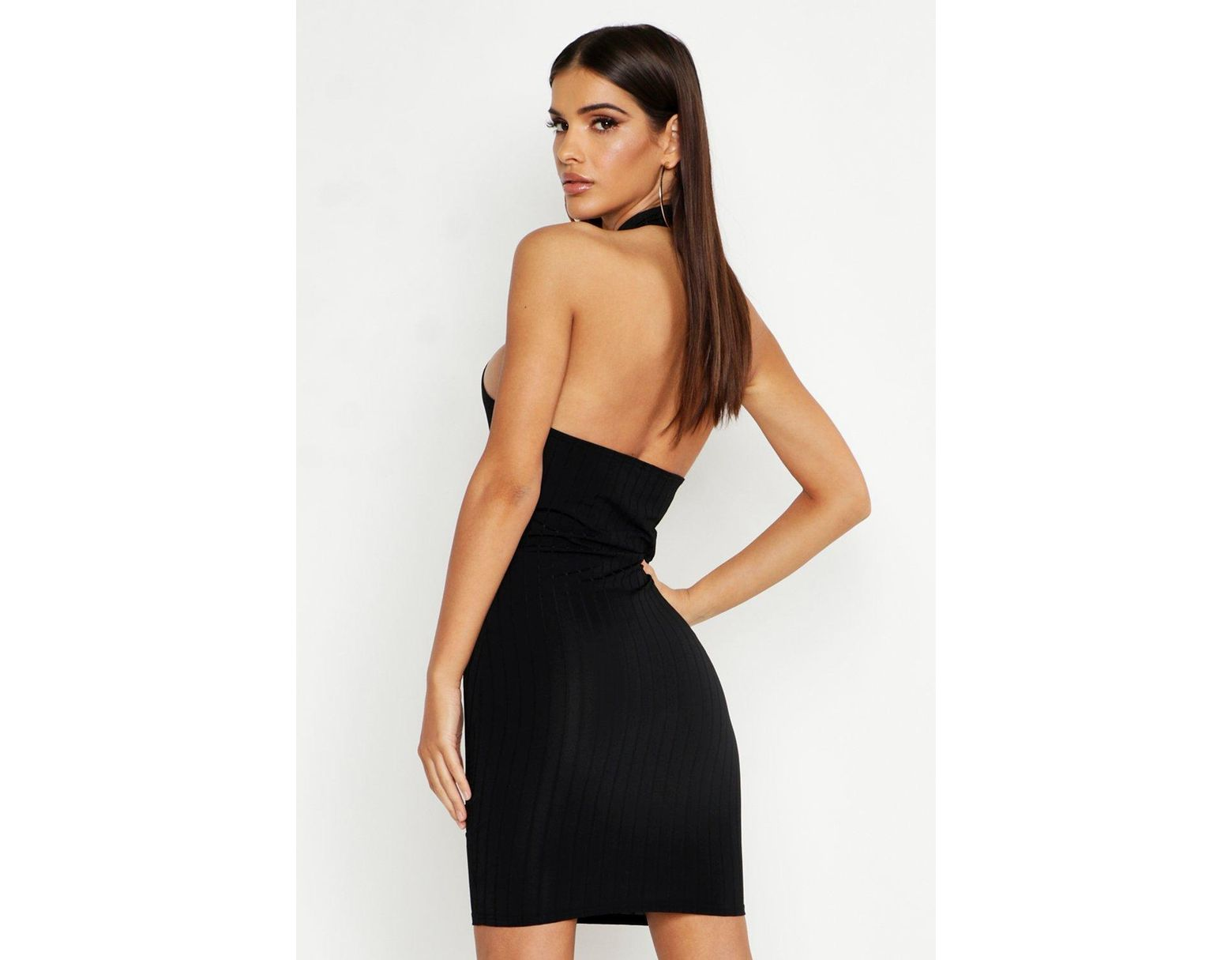 8243f4be954d Boohoo Ribbed Racer Neck Bodycon Mini Dress in Black - Lyst