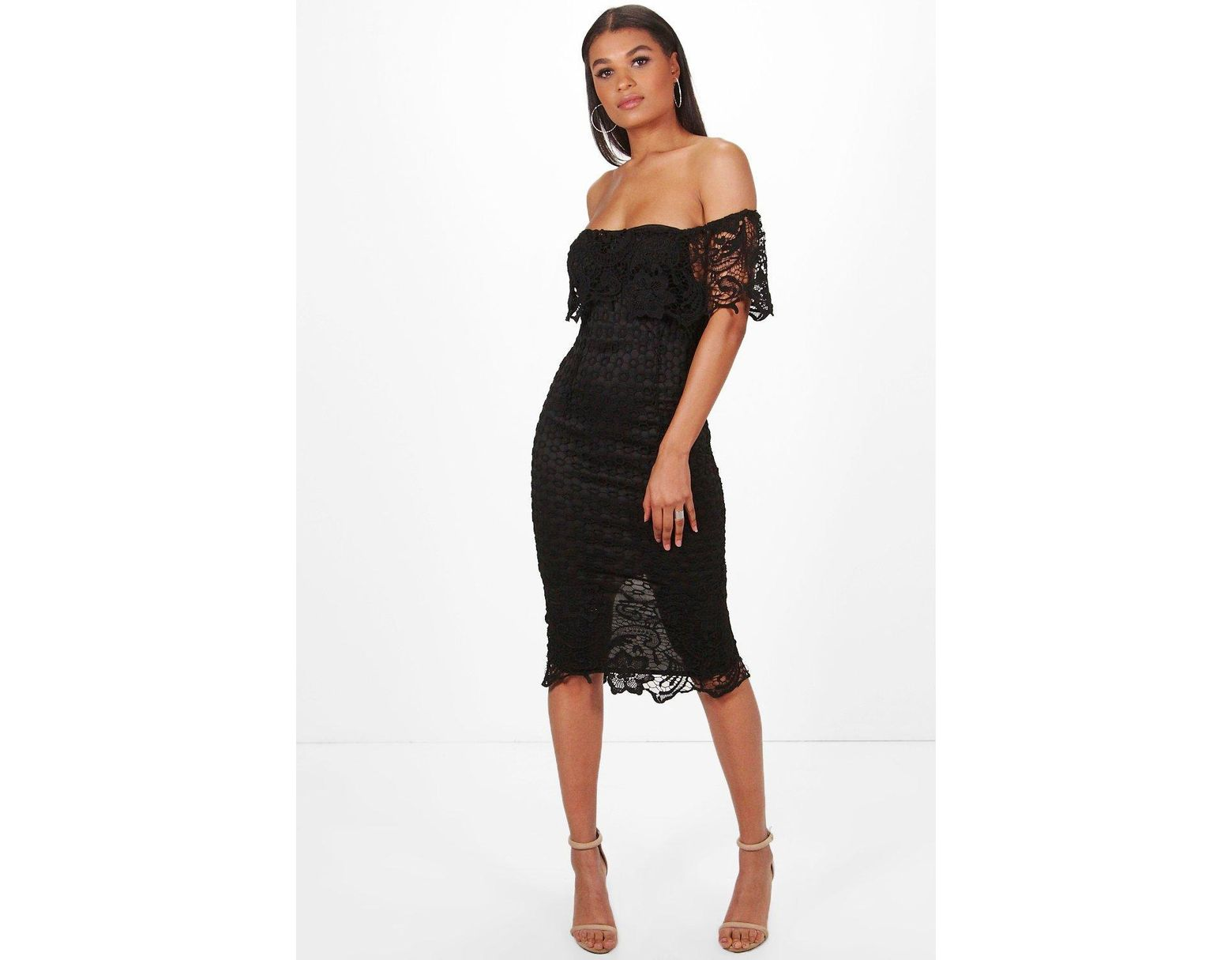 94b2d7184e6 Boohoo Boutique Lace Off Shoulder Midi Dress in Black - Lyst