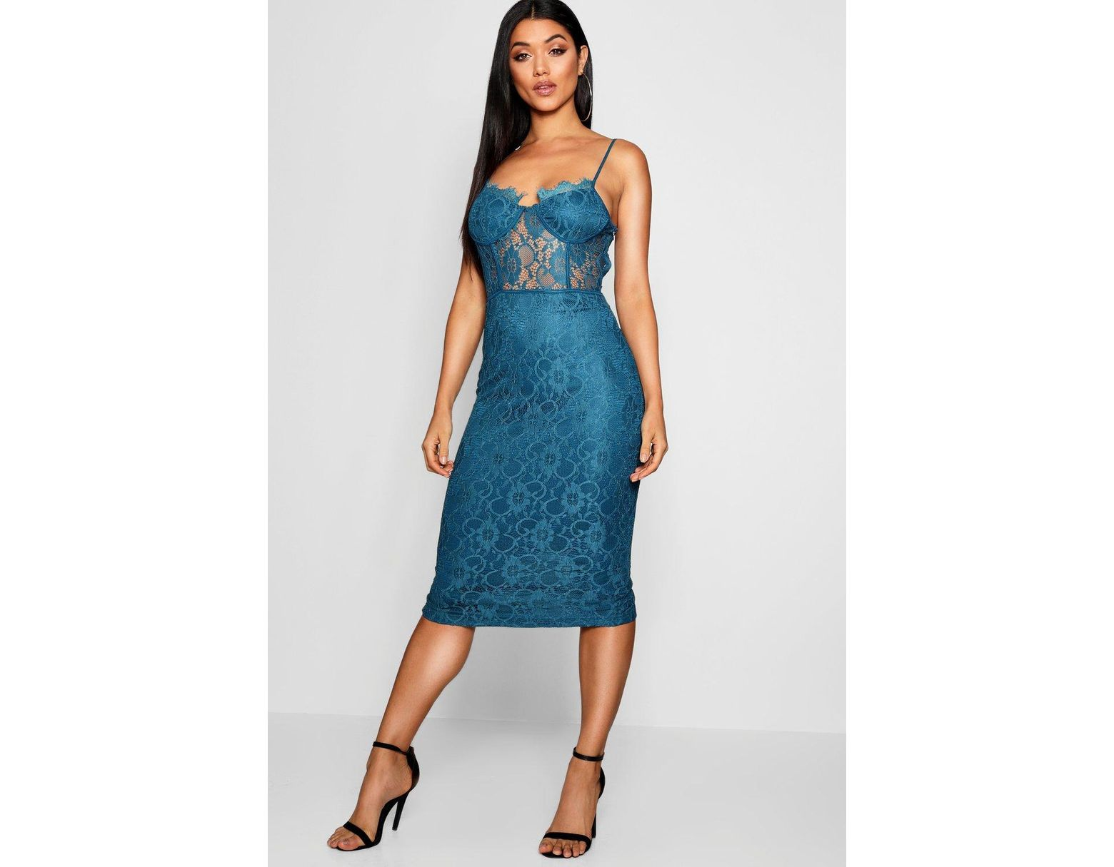 f59fa6e3d091 Boohoo Lace Cup Detail Midi Dress in Blue - Lyst