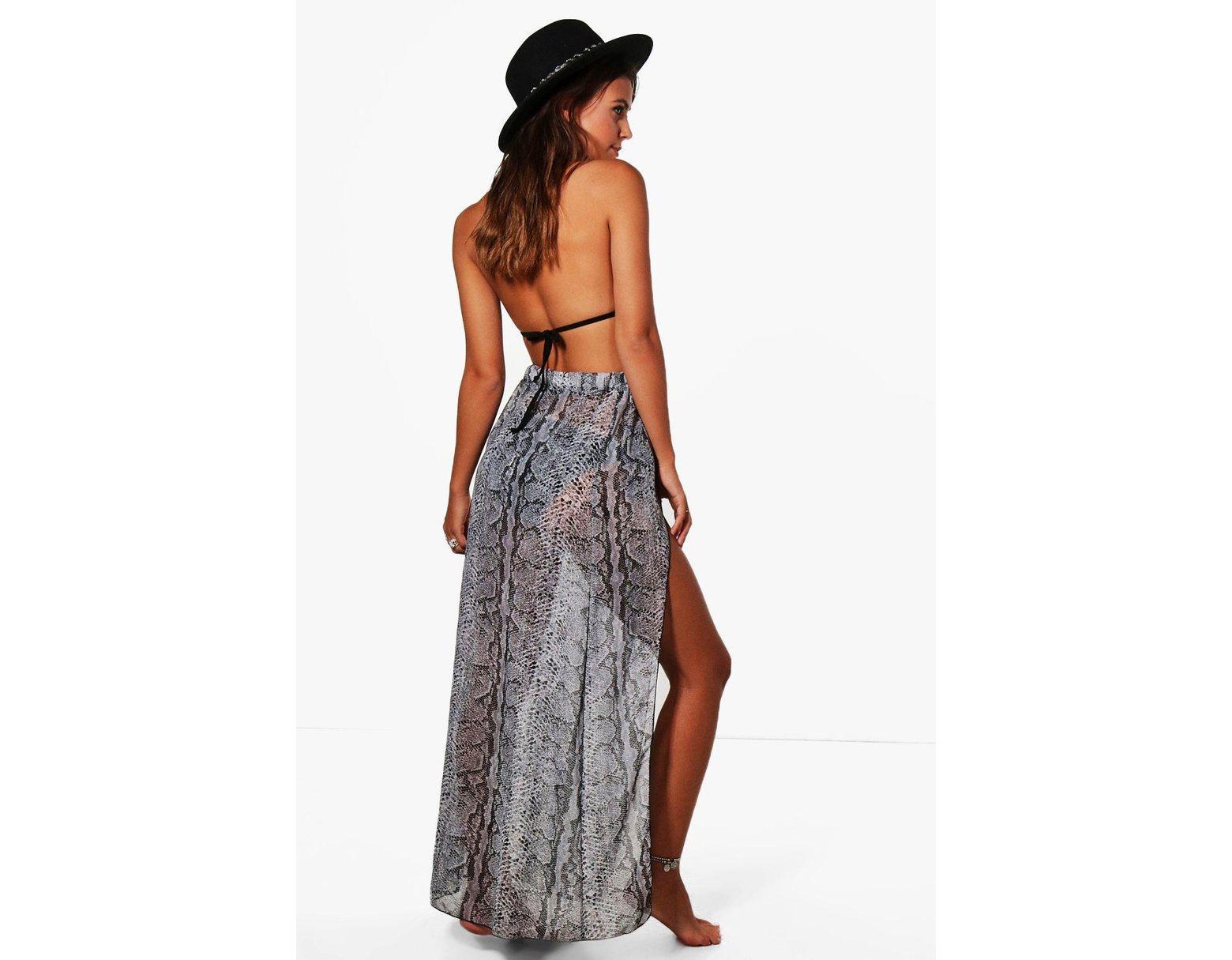 812fd6e687644 Boohoo Petite Snake Print Wrap Maxi Beach Skirt - Lyst