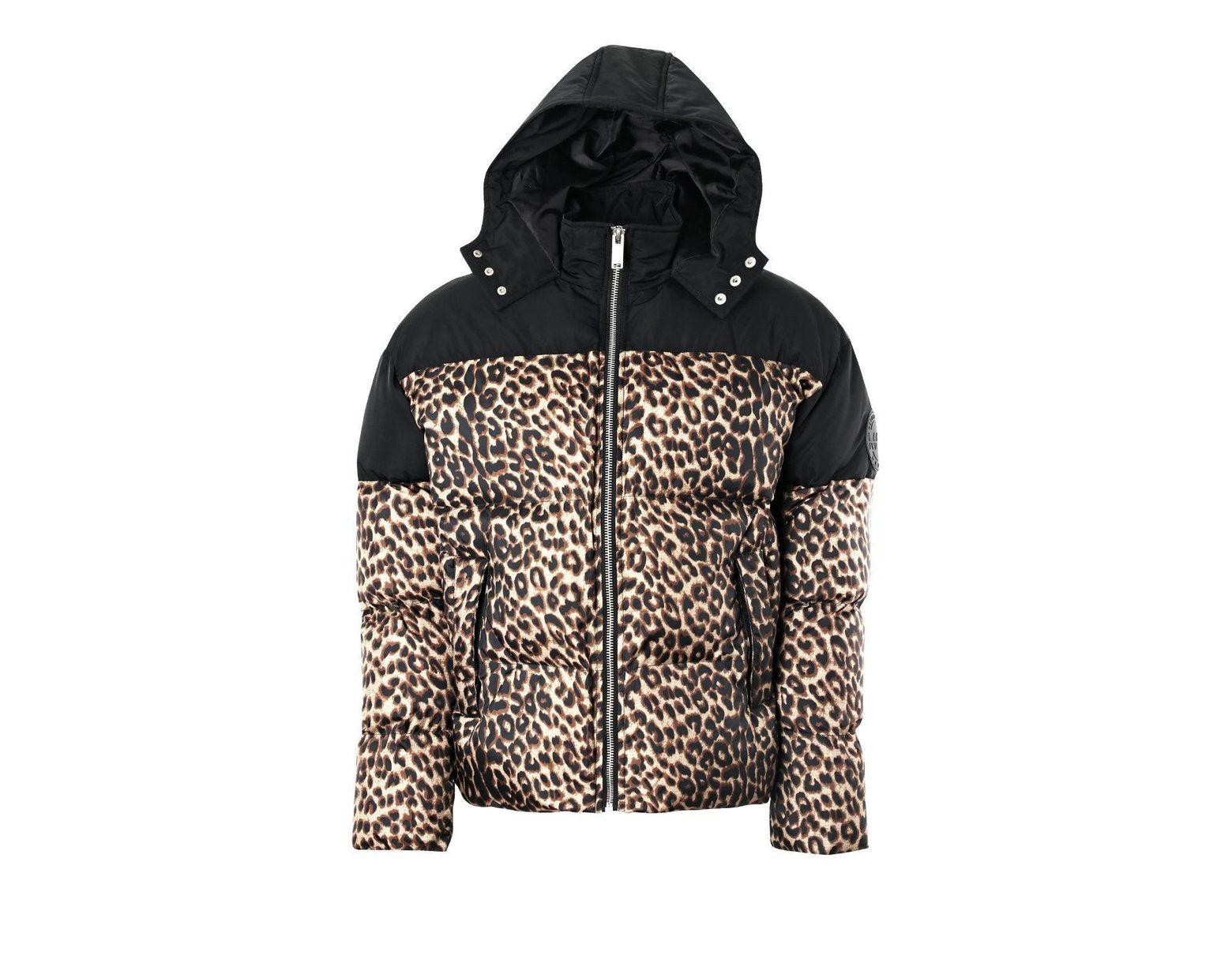 750aae3cf7e0 Boohoo Leopard Print Contrast Puffer in Black for Men - Lyst