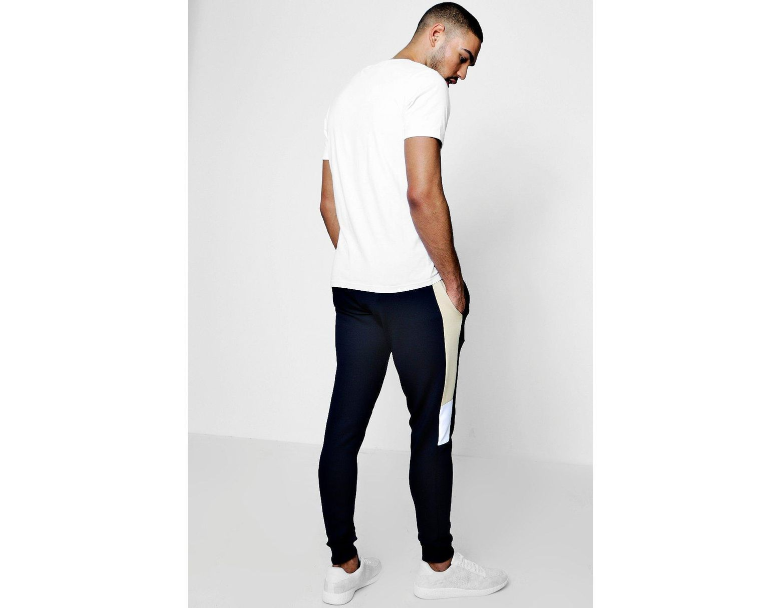 54bcee2d BoohooMAN Super Skinny Panel Jersey Joggers in Blue for Men - Lyst