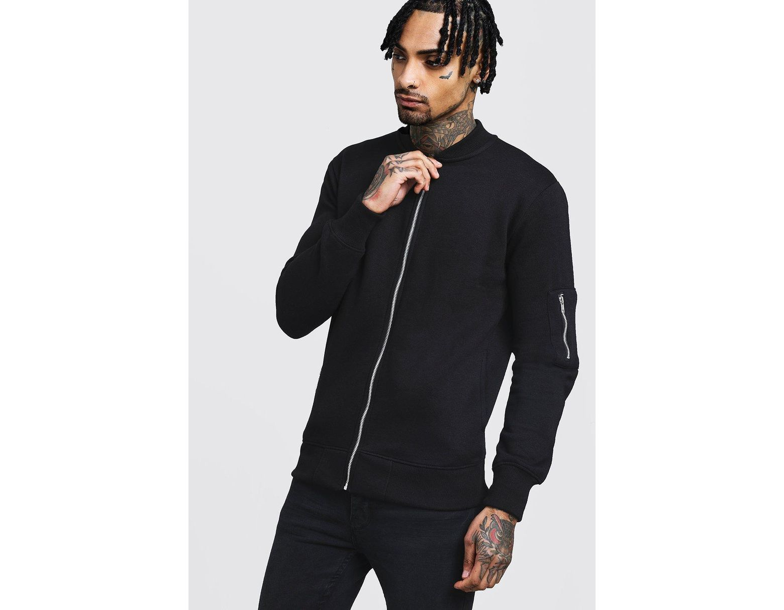 bb191e9acfb55 Boohoo Jersey Ma1 Bomber Jacket in Black for Men - Lyst