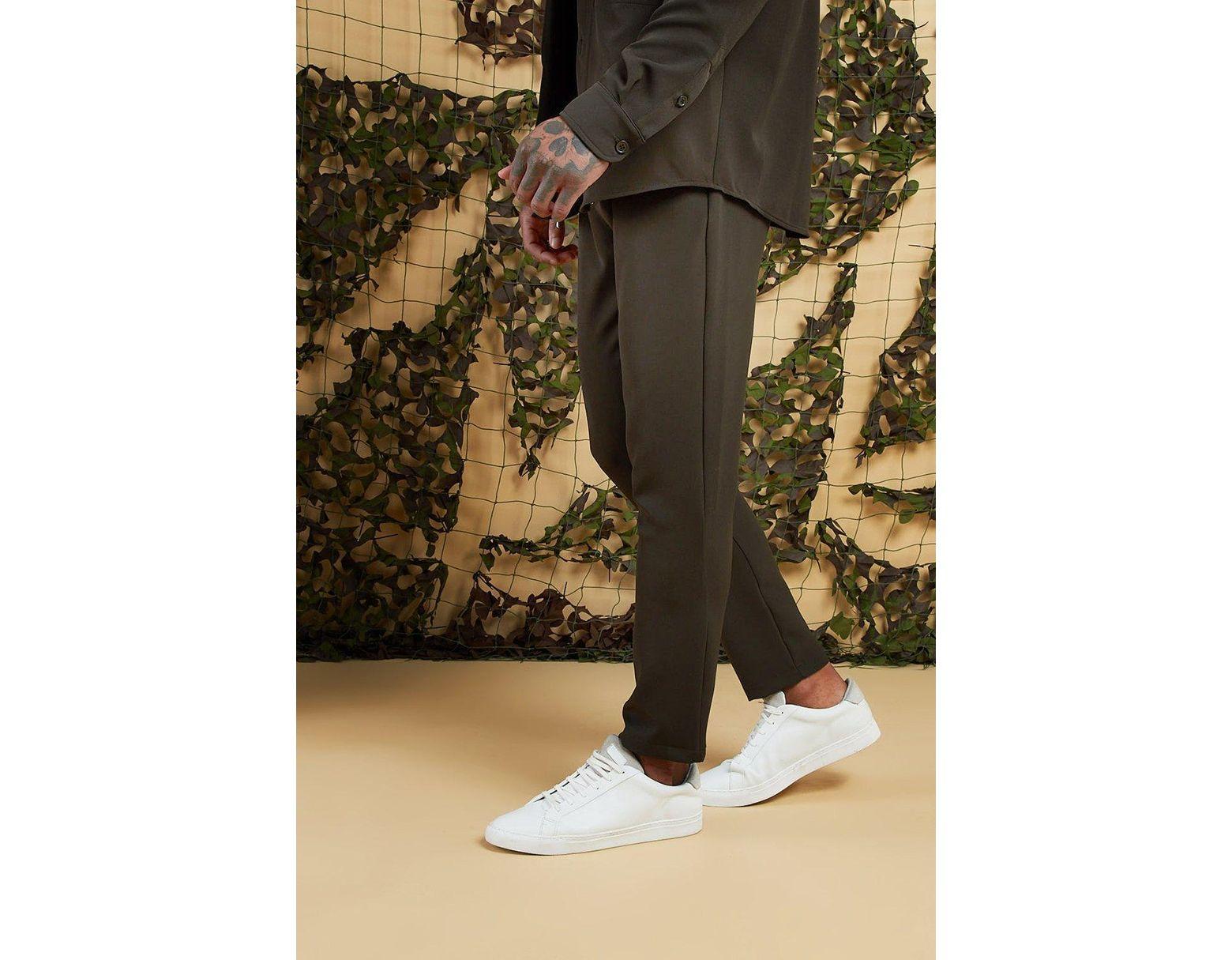 78f7d39e407d BoohooMAN Plain Smart Jogger Pants in Green for Men - Lyst