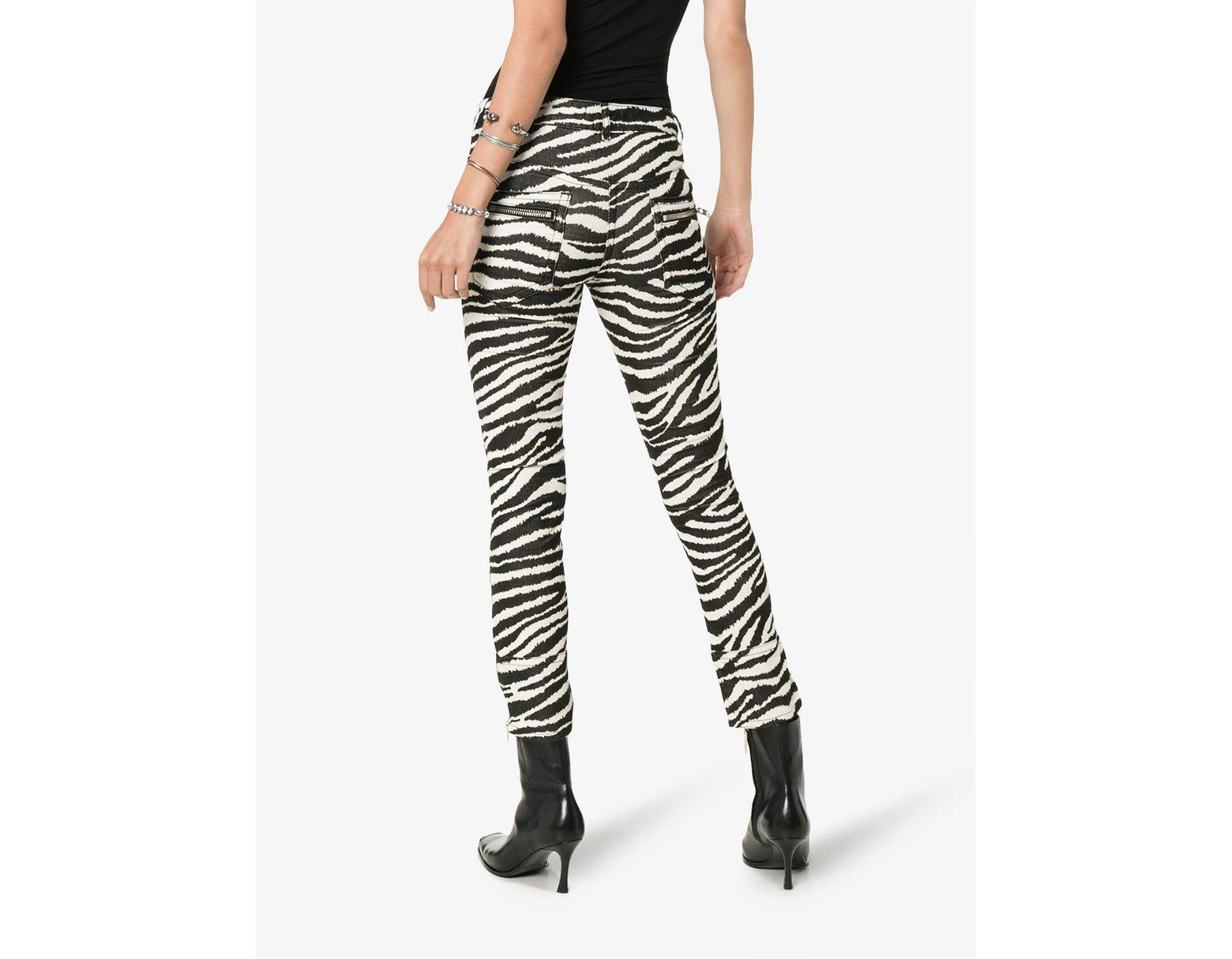 6dfc46e75c2a Étoile Isabel Marant Black And White Alone Zebra Print Cotton Trousers in  Black - Save 72% - Lyst