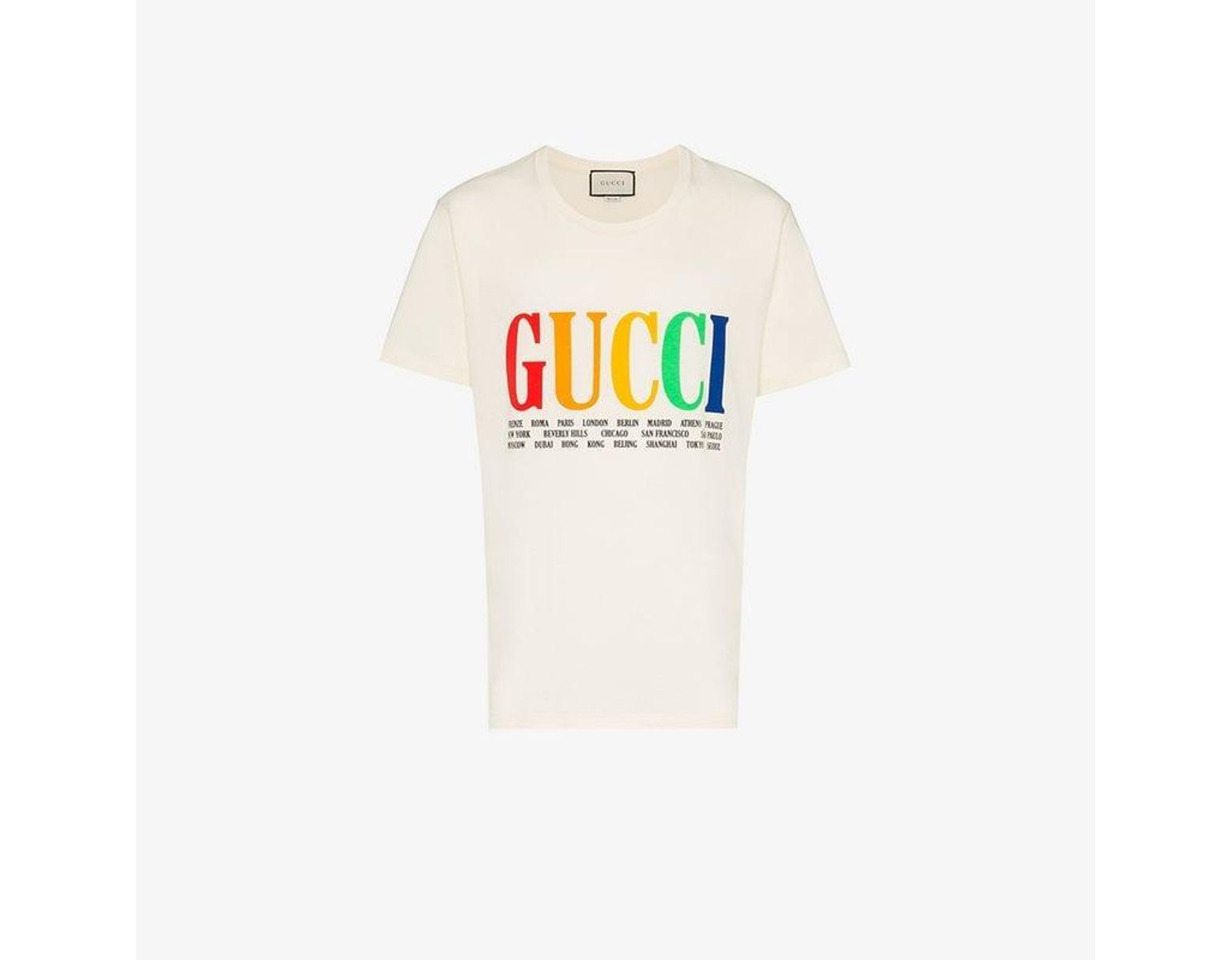 6f9055c54 Gucci Rainbow Cities Print Cotton T Shirt in White for Men - Lyst
