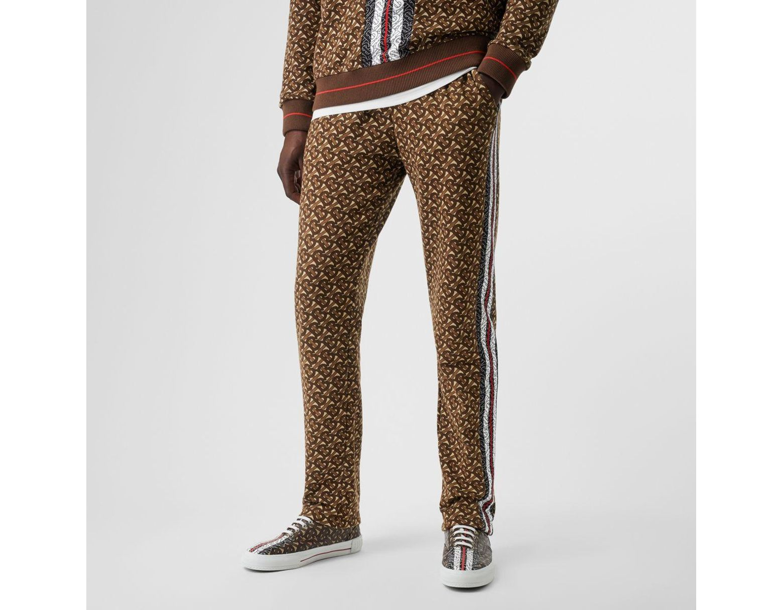 7ddb0c8d59 Burberry Monogram Stripe Print Cotton Trackpants in Brown for Men - Lyst