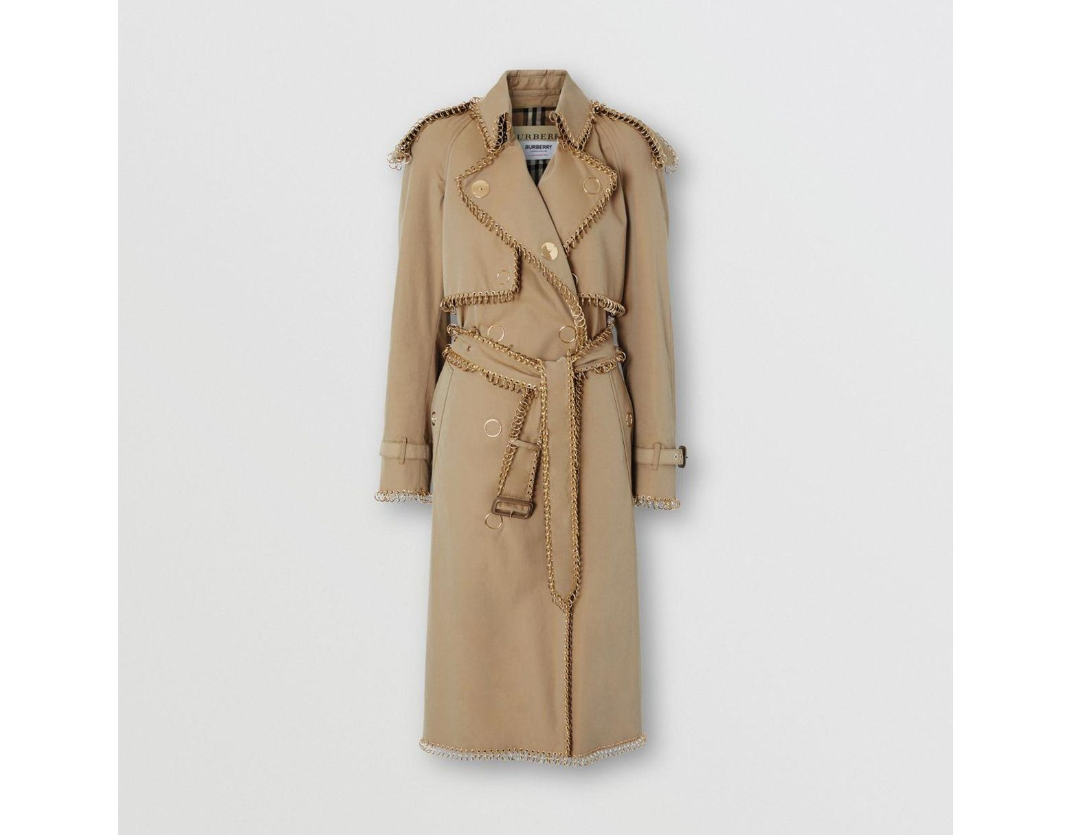 e925604a3194c2 Burberry Ring-pierced Cotton Gabardine Trench Coat in Natural - Lyst