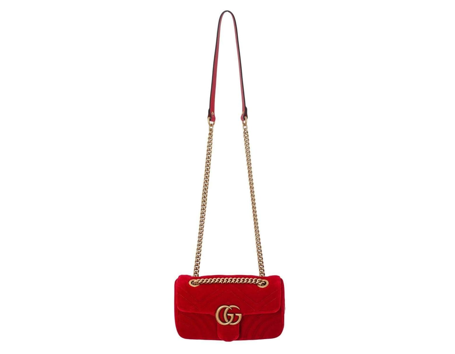 112e8b227 Gucci Marmont Mini Gg Bag In Red Velvet With Chevron Pattern And Heart On  The Back in Red - Lyst
