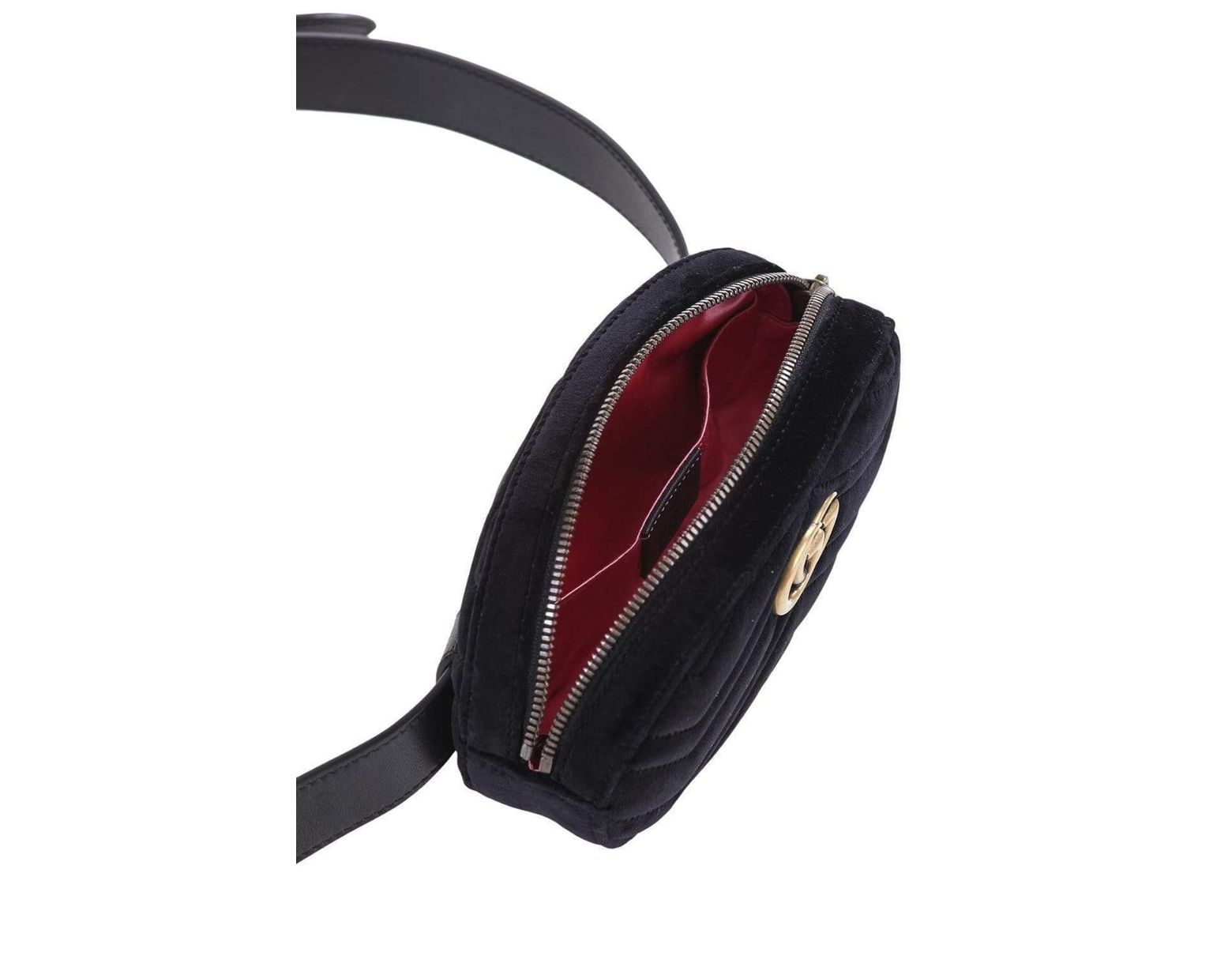 285bc7bdc Gucci Velvet Marmont Belt Bag With Chevron Pattern in Black - Save 28% -  Lyst
