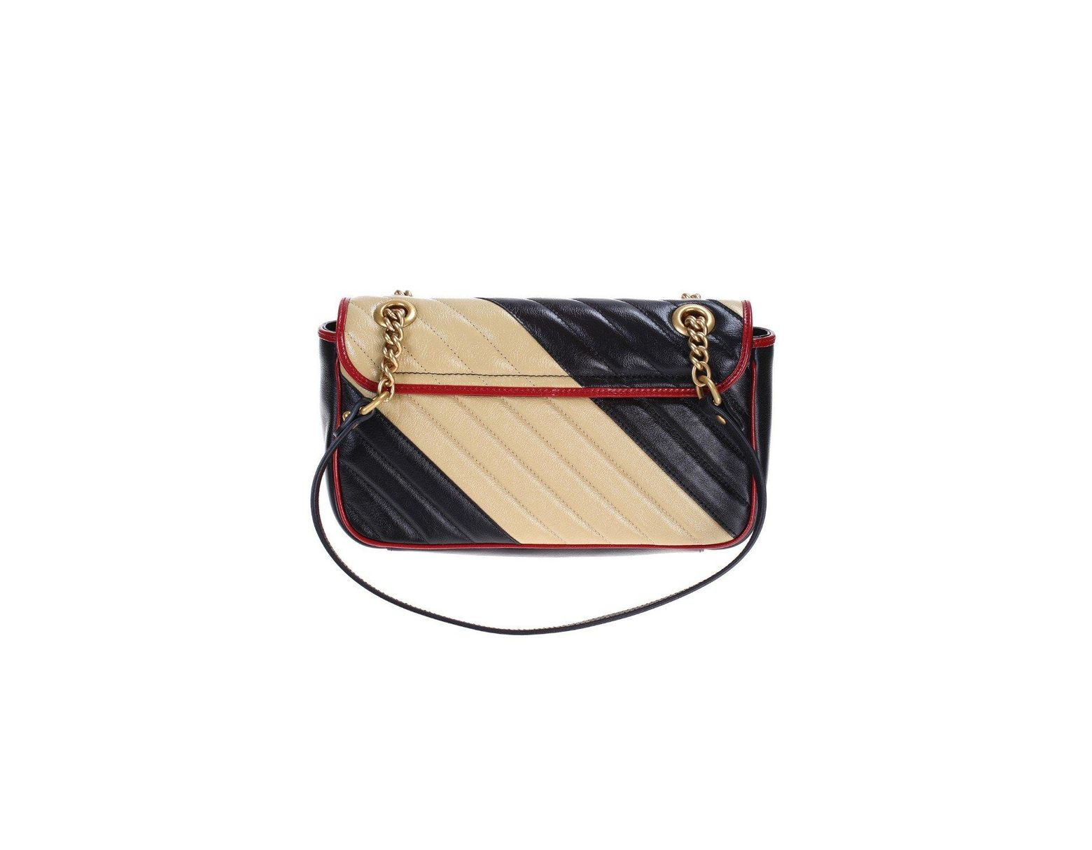 c054fd698f8 Gucci Gg Marmont Shoulder Bag In Matelassé Leather With Maxi Beige And  Black Stripes in Black - Lyst