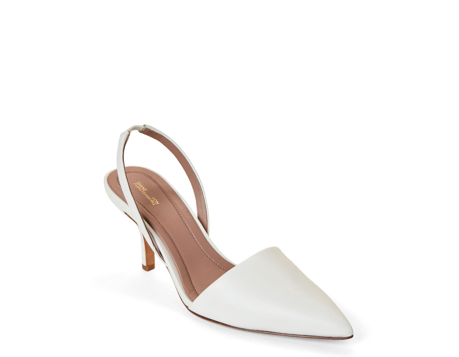 f330ac2244e Diane von Furstenberg Mortelle Slingback Pumps in White - Save 87% - Lyst
