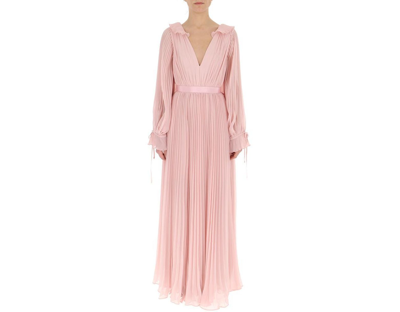 641733e49ae4 Self-Portrait Pleated Billow-sleeve Gown in Pink - Lyst