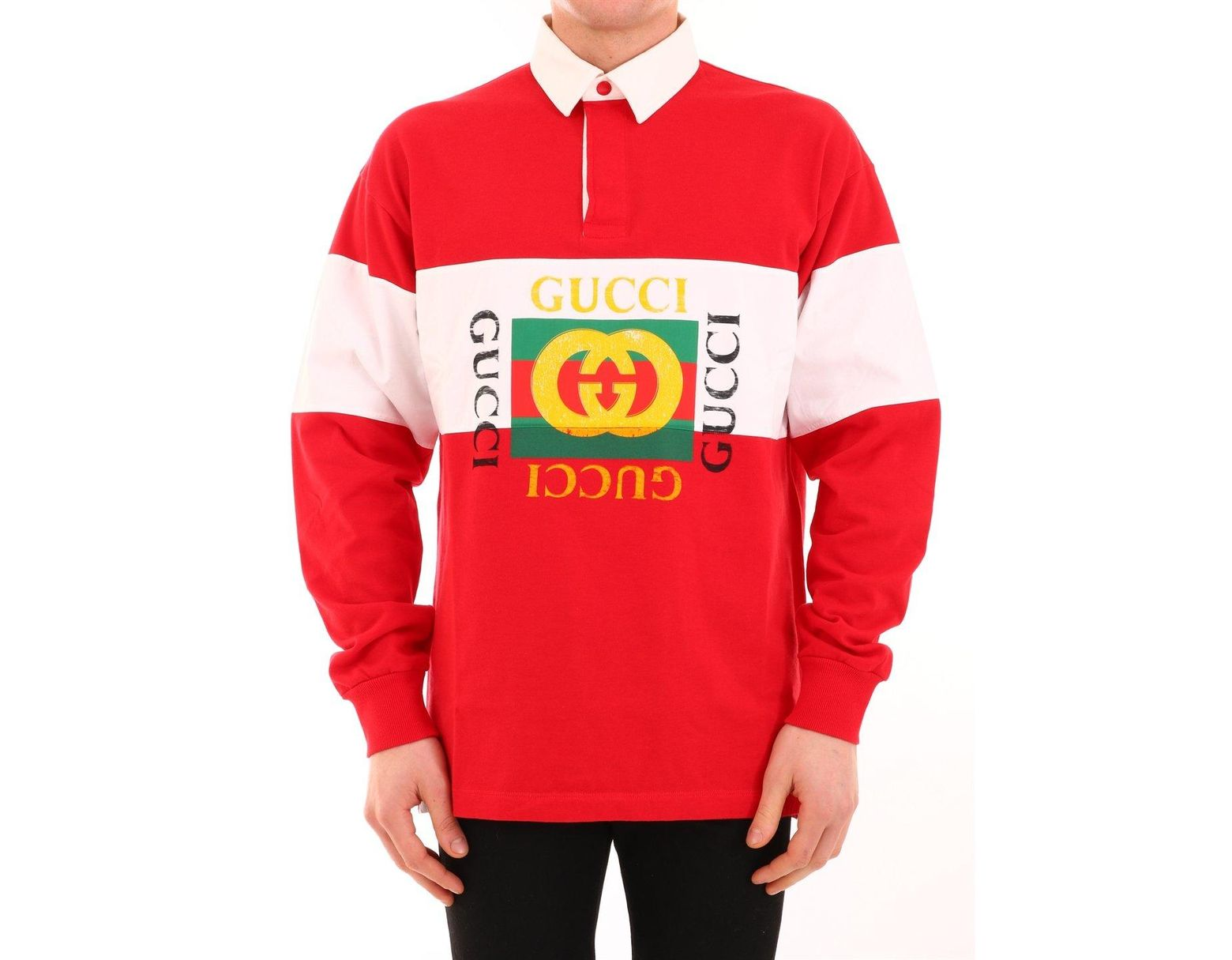 7b3e4247 Gucci Men's Logo Rugby-stripe Long-sleeve Polo Shirt in Red for Men - Save  38% - Lyst