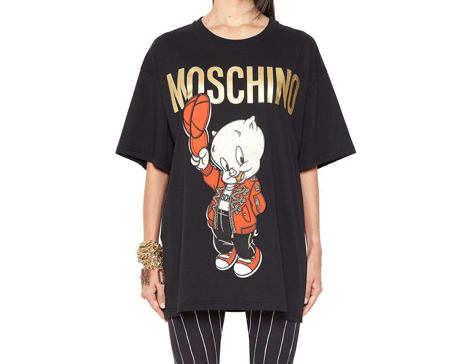 b383450755f Moschino Pig Logo T-shirt in Black - Lyst