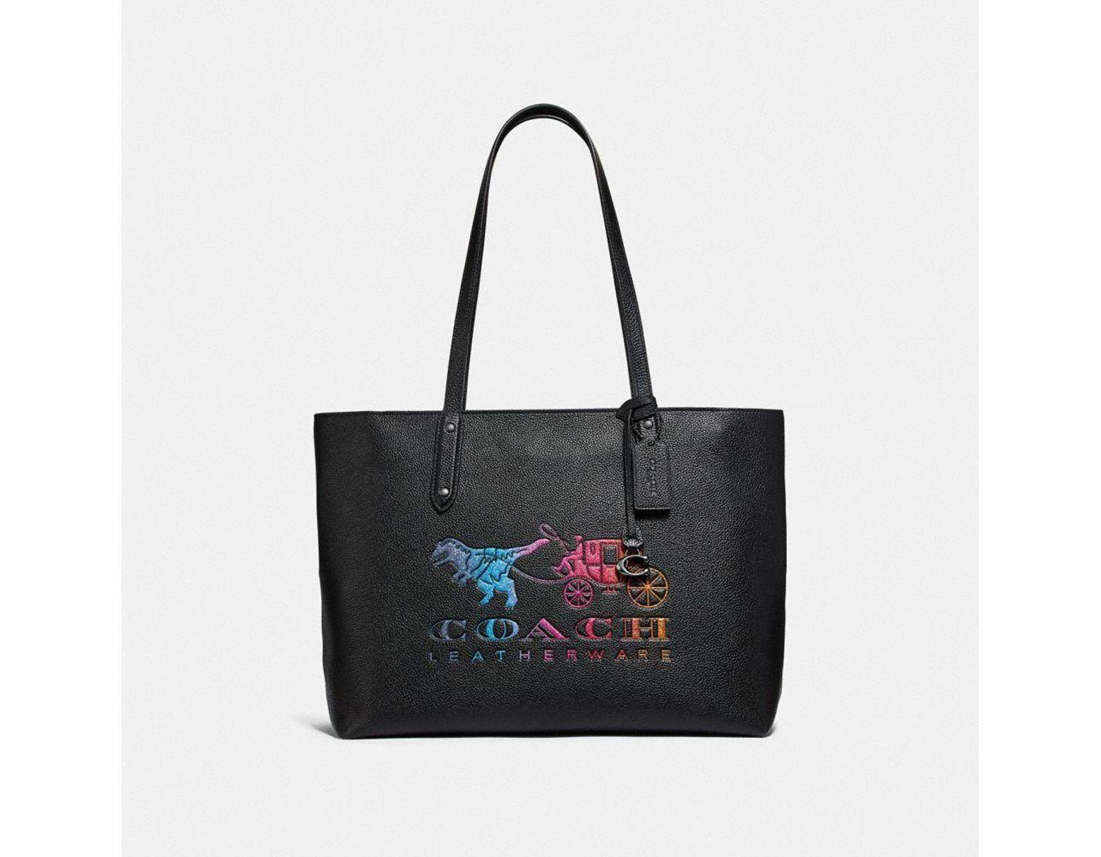 168ce07683 COACH Central Tote With Zip With Rexy And Carriage in Black - Lyst