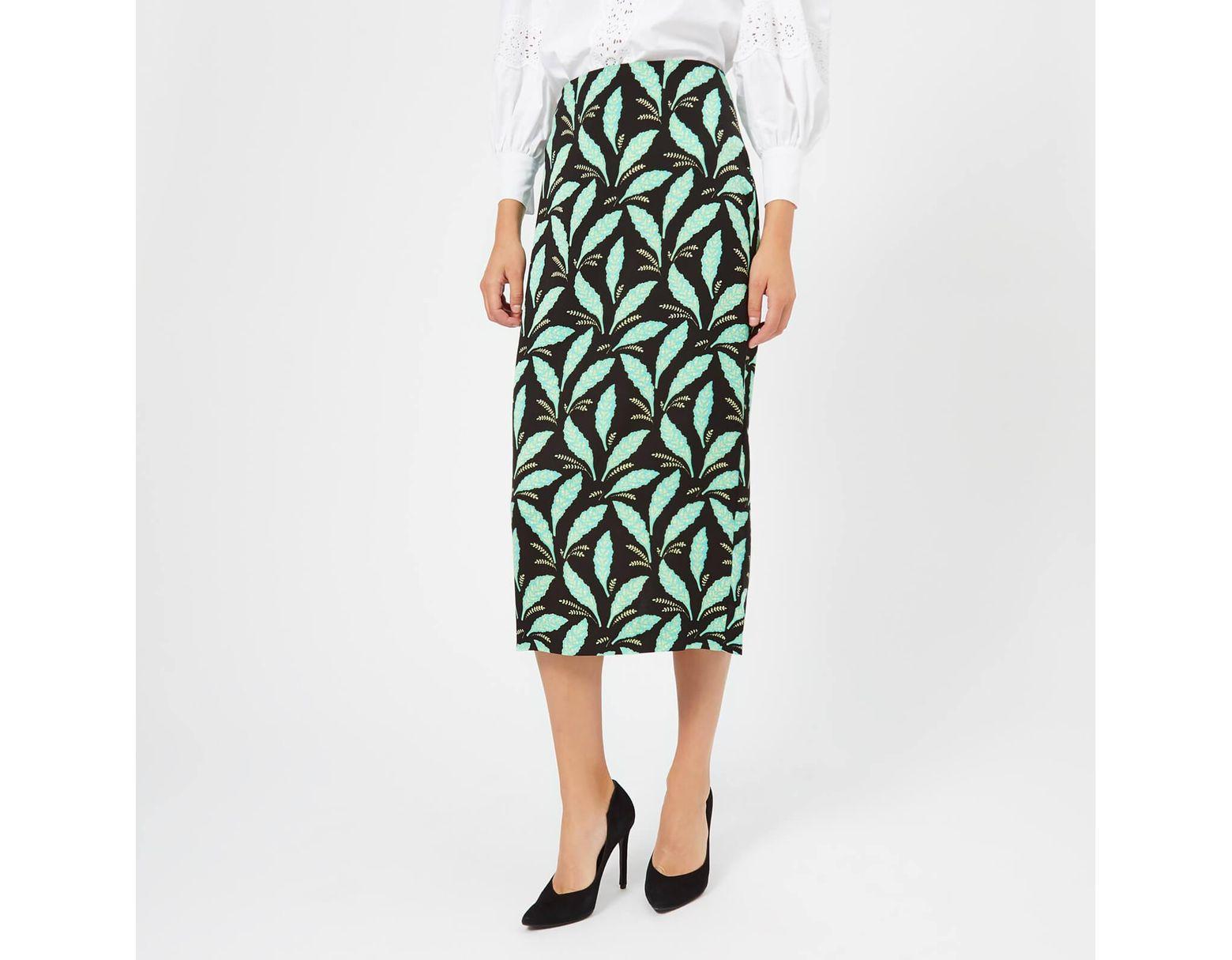 f7b95f044 Diane von Furstenberg Printed Pencil Skirt in Green - Save 50% - Lyst