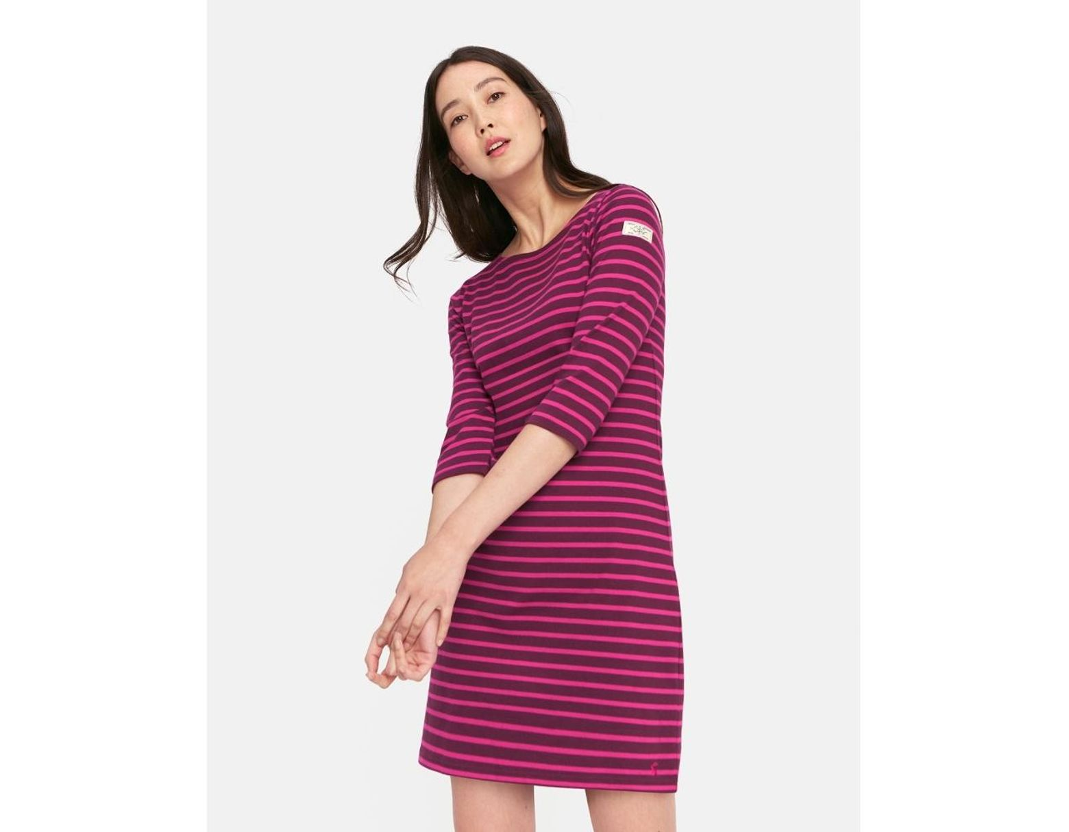 d8072b8c53bf Joules Riviera 3/4 Sleeve Striped Womens Dress (z) in Purple - Save 32% -  Lyst