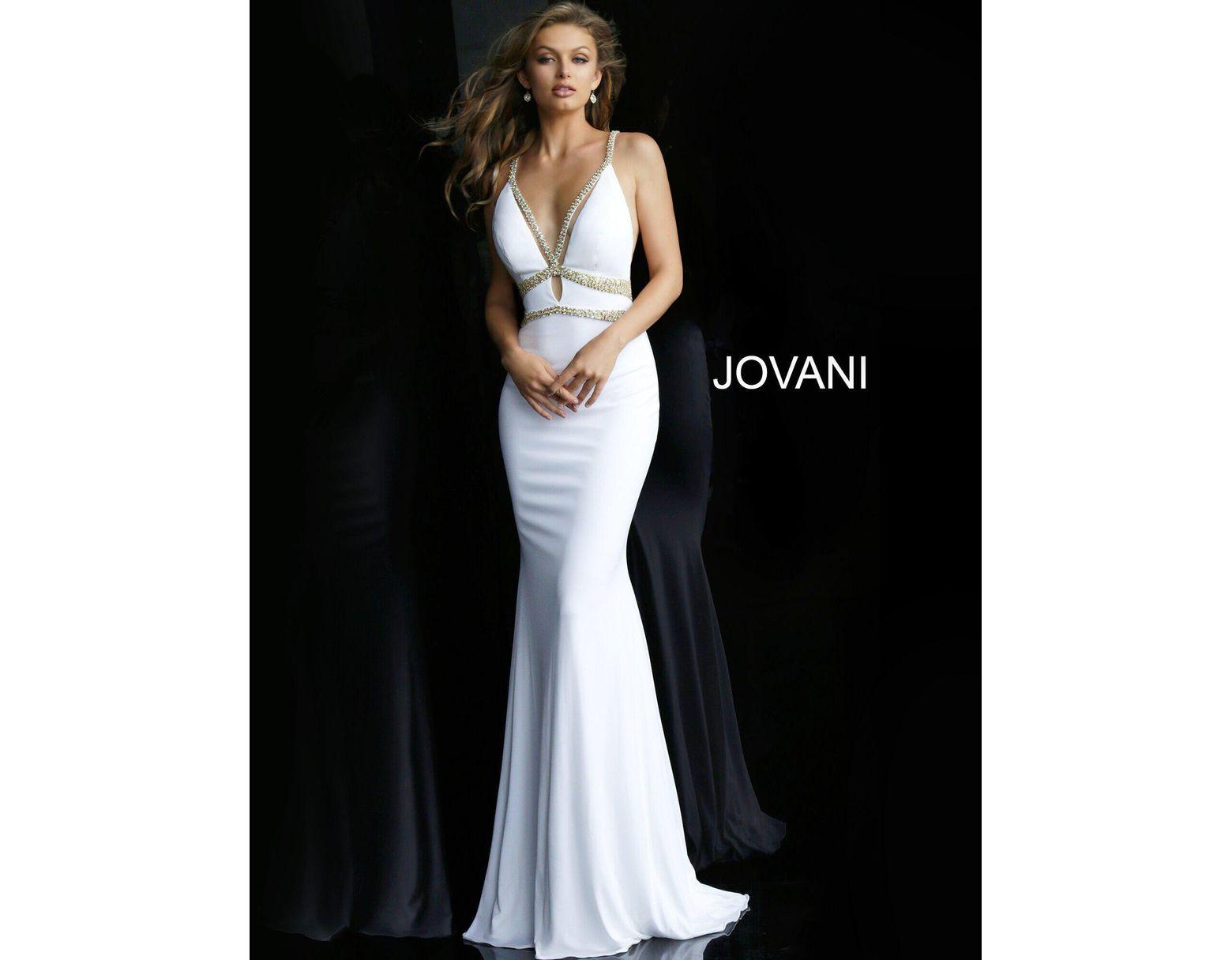 b0940fb1597 Jovani 60232 Gilt-crisscross Detailed Plunging Mermaid Gown in Black - Lyst