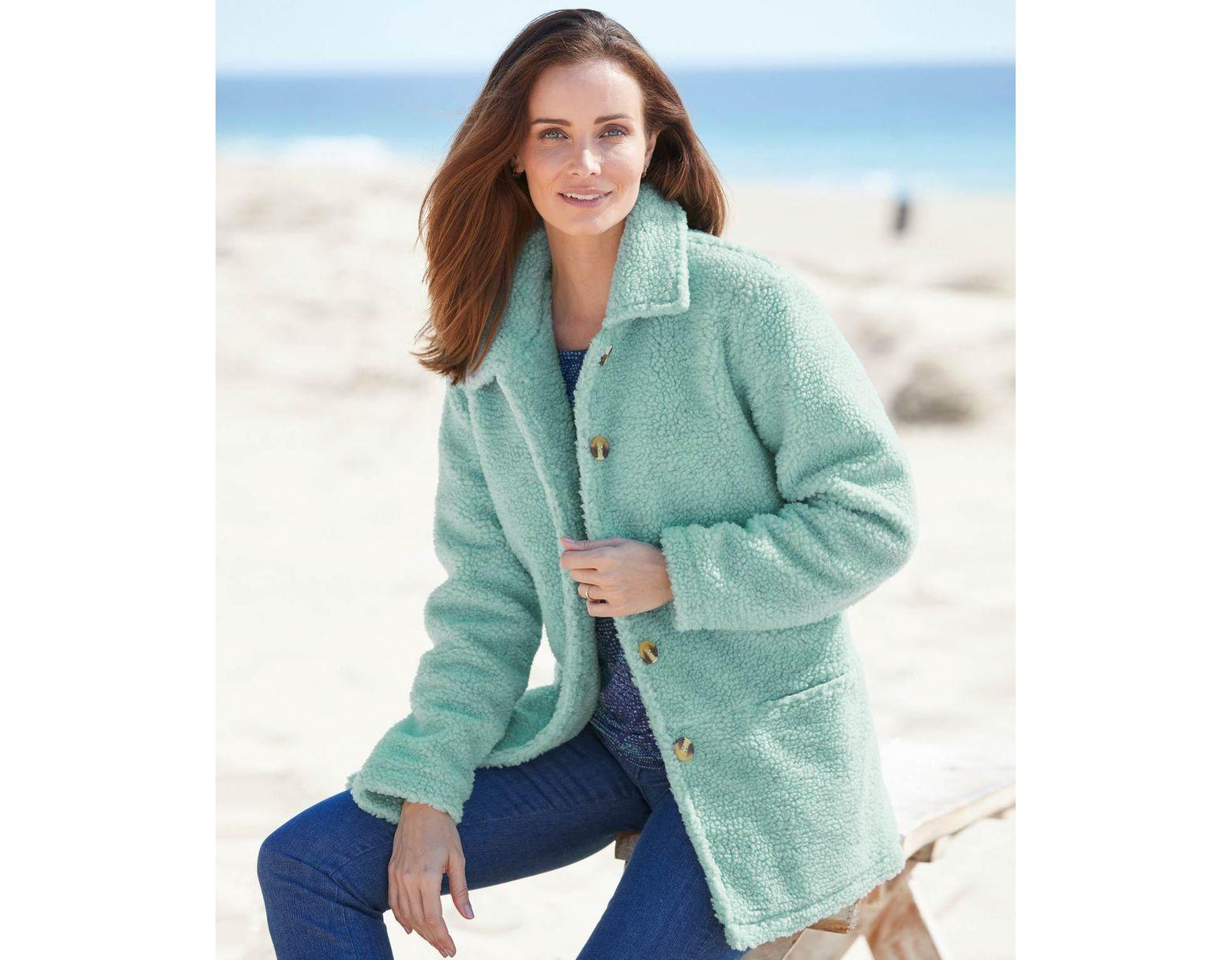 af287b34299a DAMART Sherpa Button-through Fleece Jacket in Green - Lyst