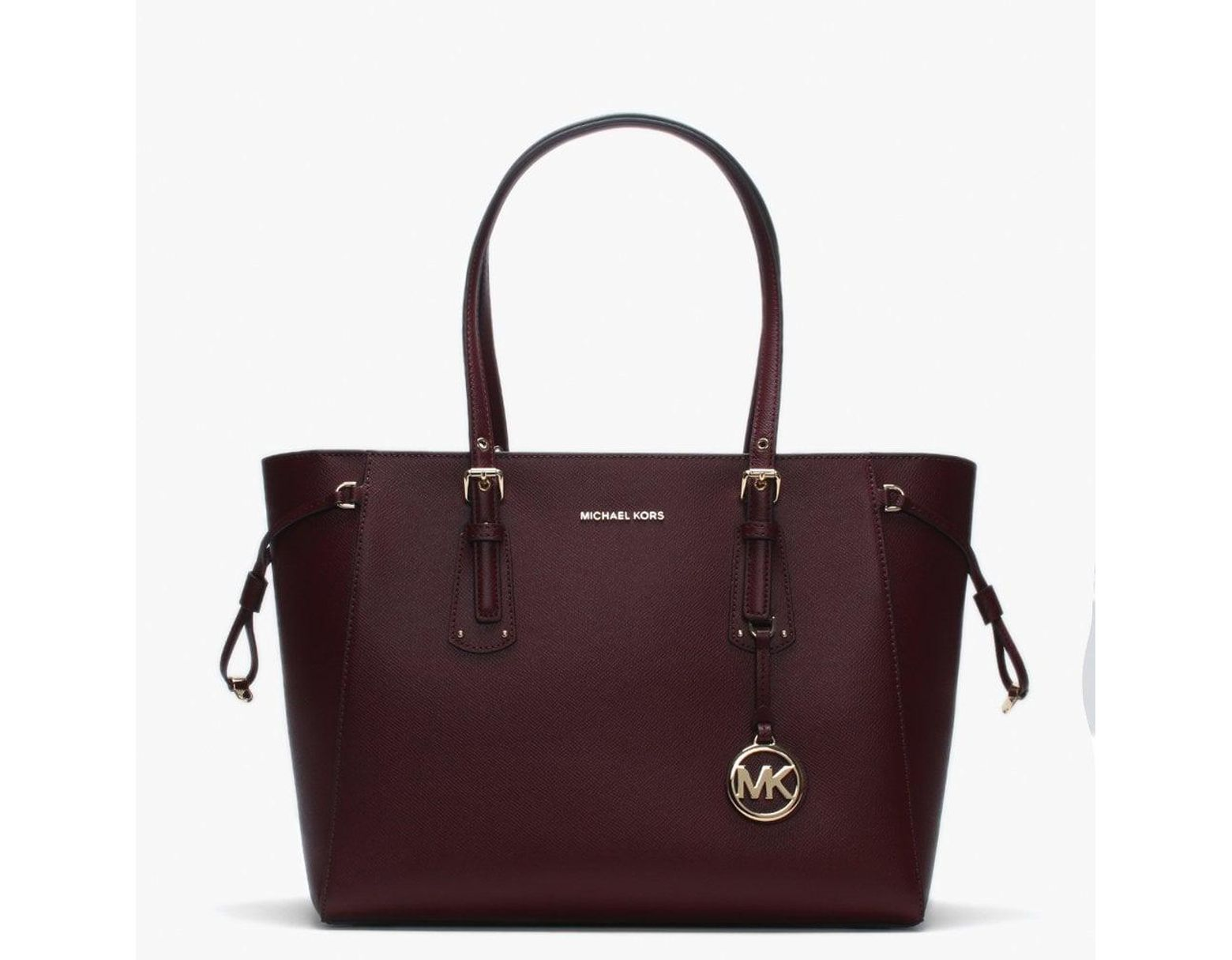 dddd0bdecf22 Michael Kors Voyager Oxblood Saffiano Leather Tote Bag in Purple - Lyst