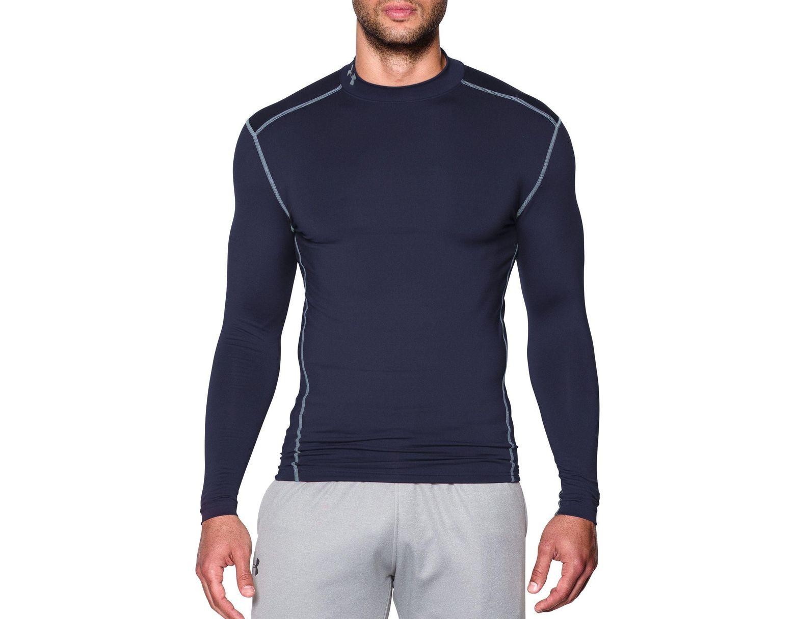 7c58d78e8 Under Armour Coldgear Armour Compression Mock Neck Long Sleeve Shirt in  Blue for Men - Lyst