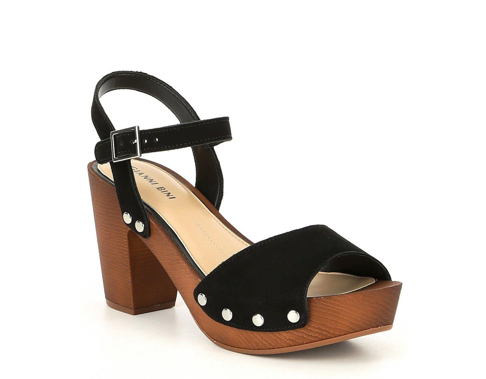 f8c00883a3ee7 Gianni Bini Renella Nubuck Two-strap Wood Platform Block Heel Sandals in  Black - Lyst