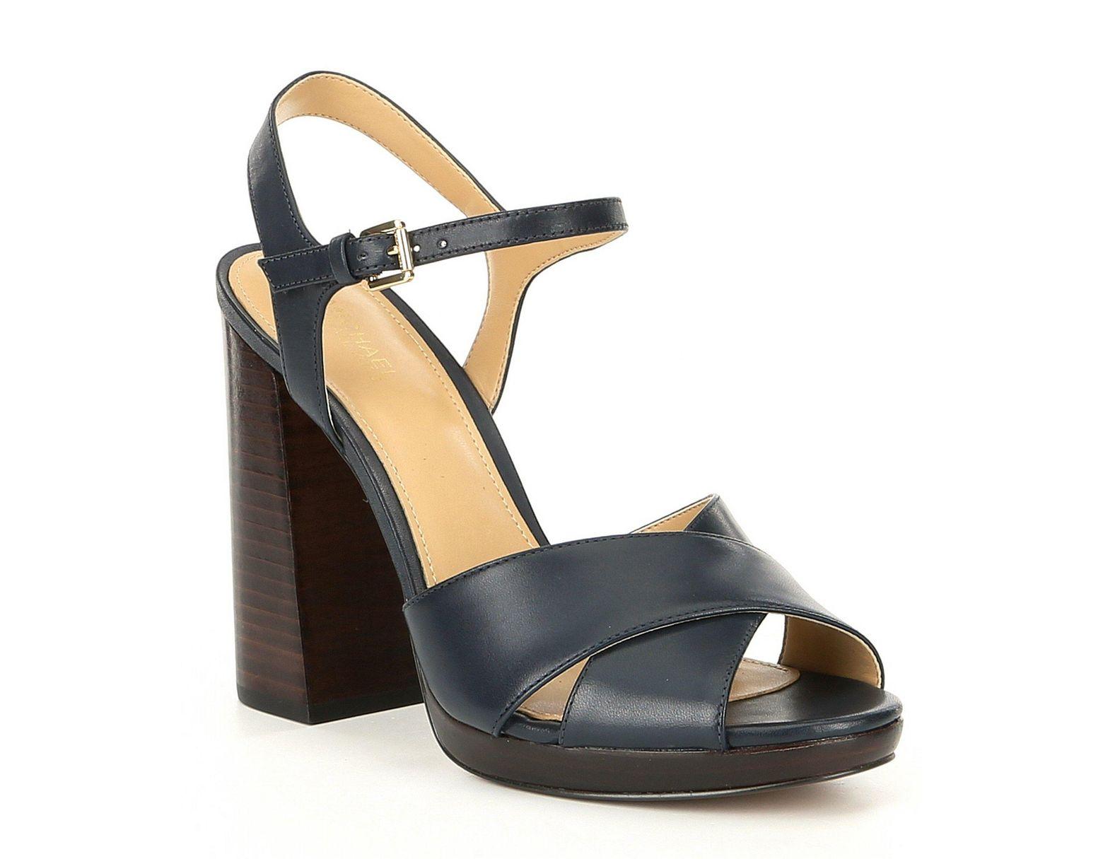 d4c7c5466a MICHAEL Michael Kors Alexia Platform Block Heel Sandals in Blue - Lyst