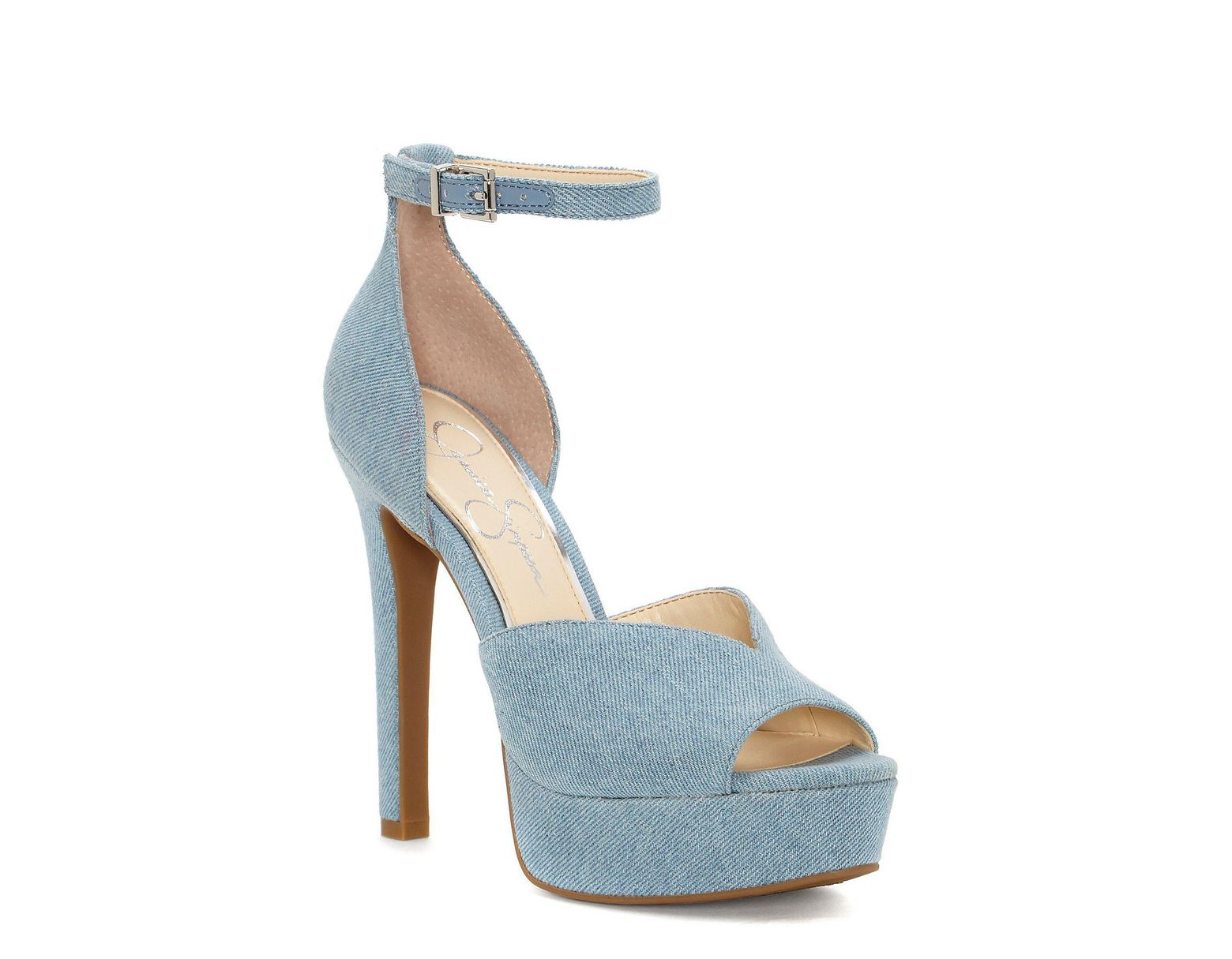 6e026e69bf95 Jessica Simpson Briya Denim Peep Toe Platform With Ankle Strap Pumps in  Blue - Lyst