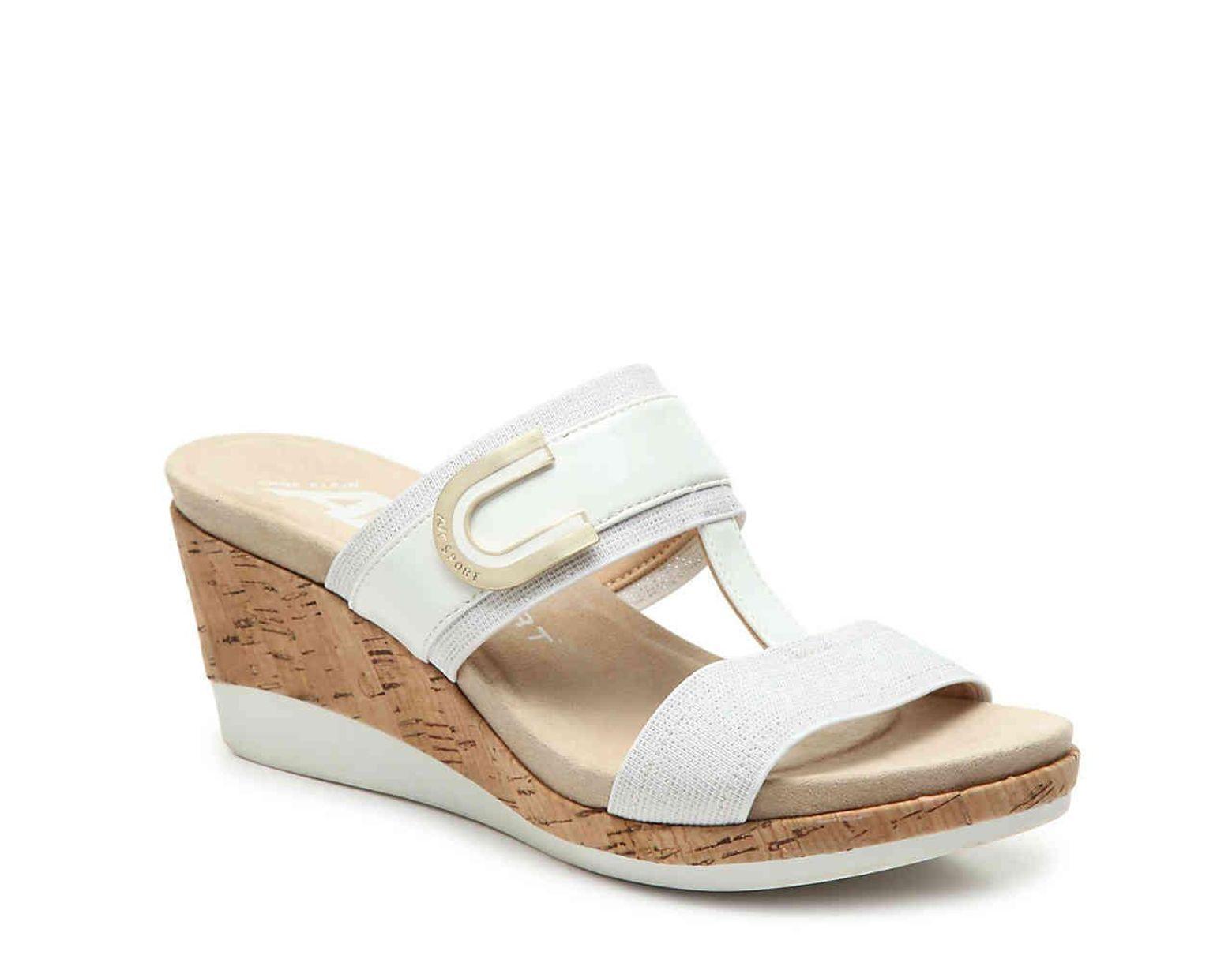 e07e528ce Anne Klein Sport Pax Wedge Sandal in White - Lyst