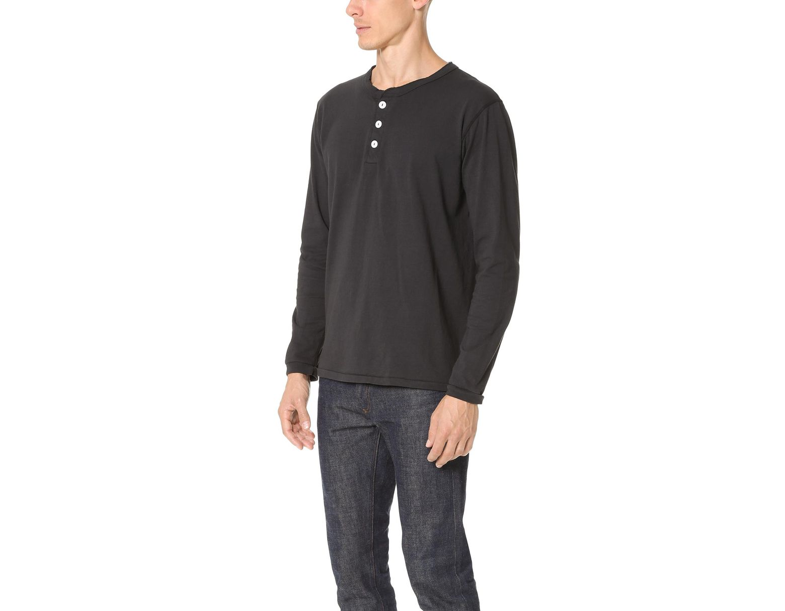 ae7a419a77 Velva Sheen Long Sleeve Henley in Black for Men - Lyst