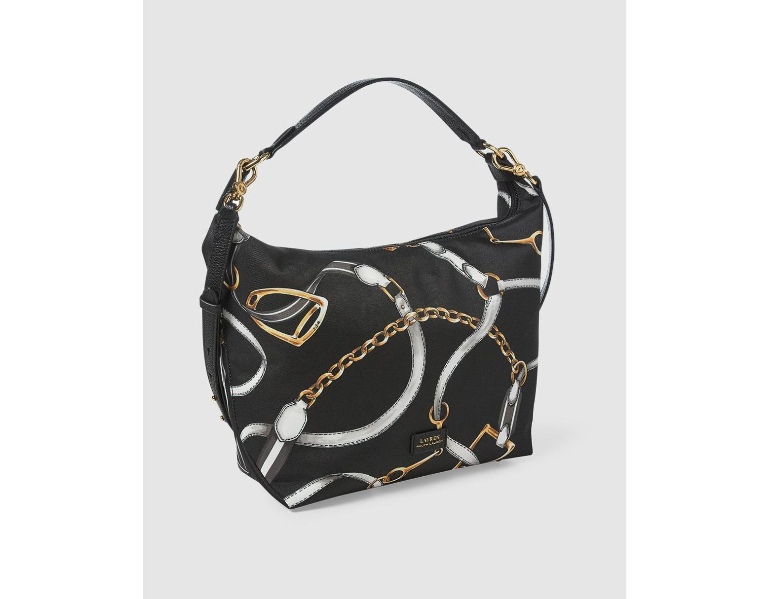 732d0bbb5 Lauren by Ralph Lauren Black Nylon Hobo Bag With Chain Print in Black - Lyst