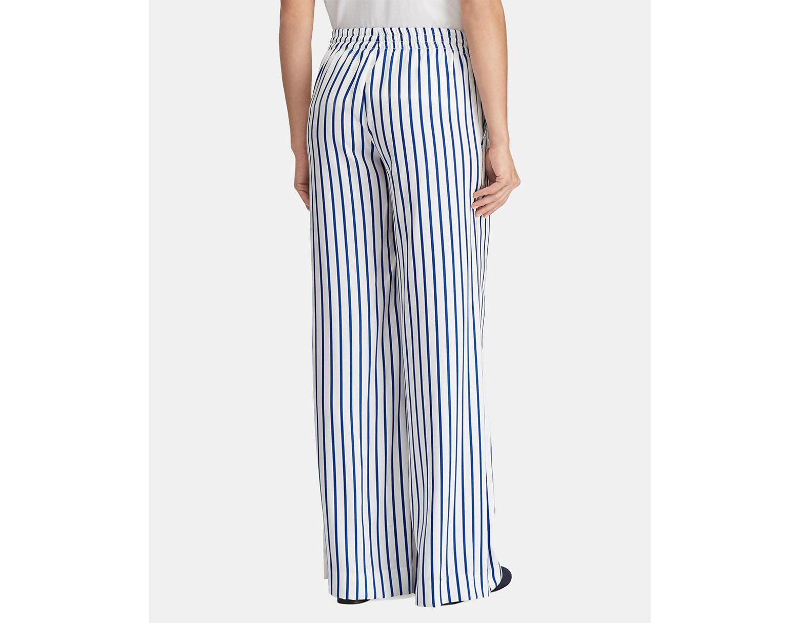 70bc60c30 Lauren by Ralph Lauren Loose-sitting Striped Trousers in Blue - Save 33% -  Lyst