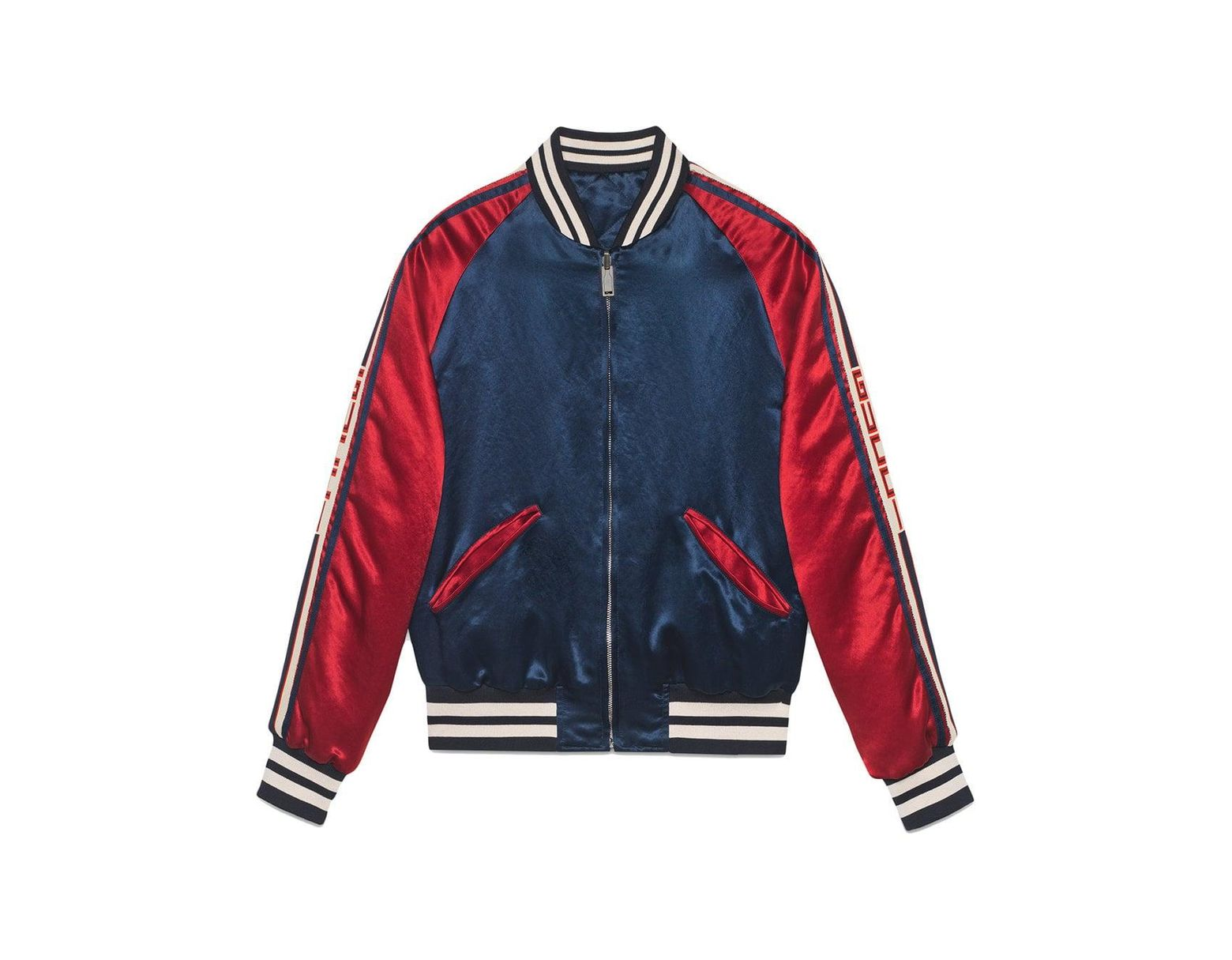 14374542c Gucci Stripe Reversible Acetate Bomber in Blue for Men - Save 57% - Lyst