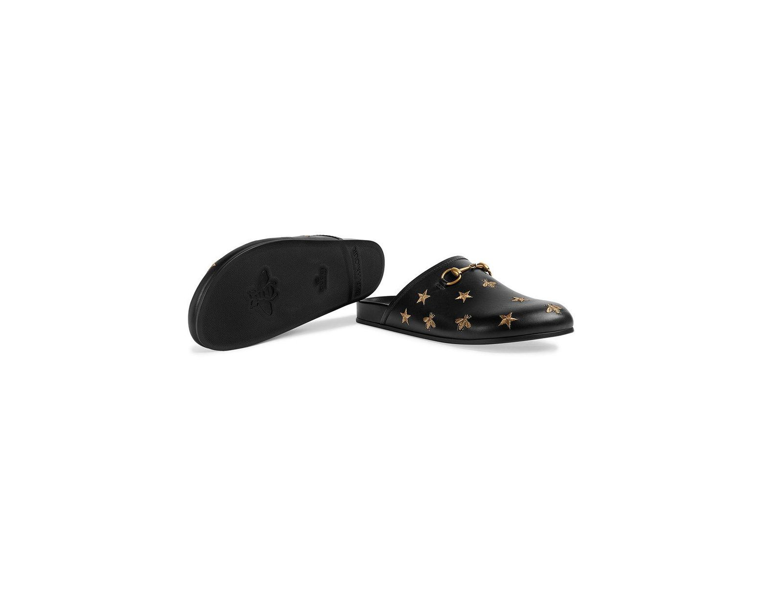 f1776ed00256 Lyst - Gucci Horsebit Embroidered Leather Slipper in Black for Men