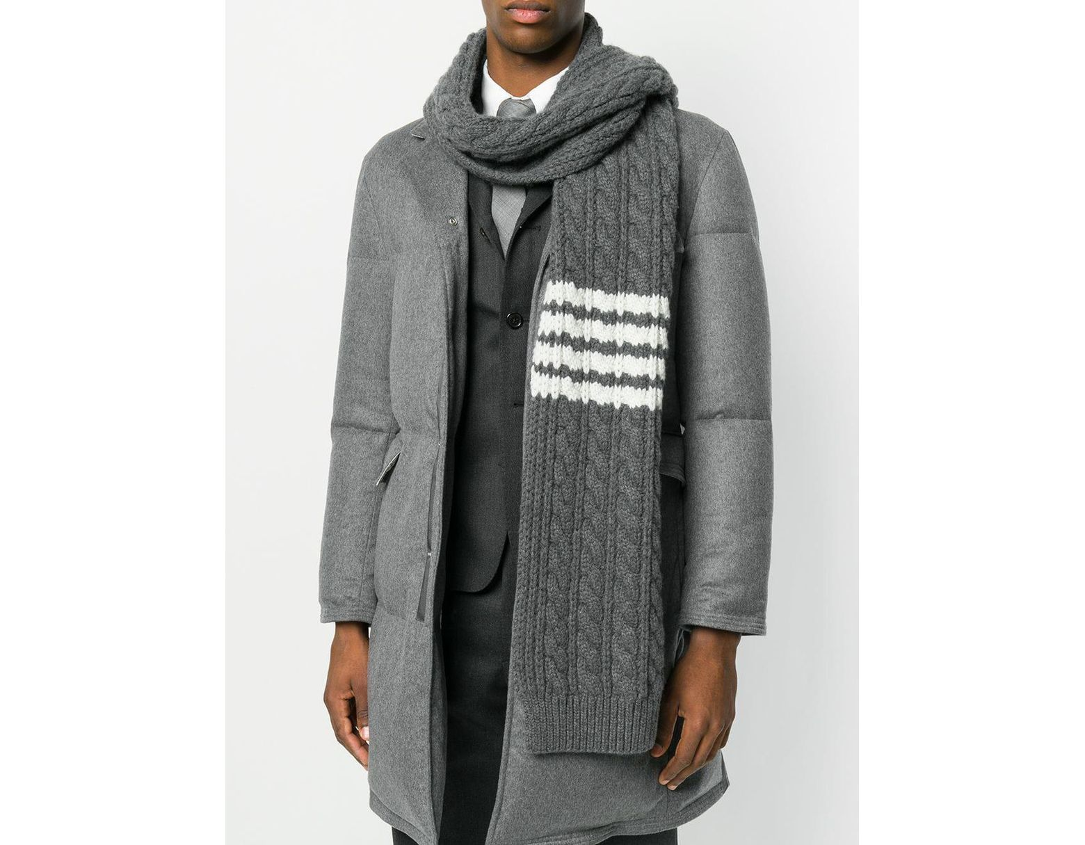 4ceac7be5f Thom Browne Chunky Cable Cashmere Scarf in Gray for Men - Lyst