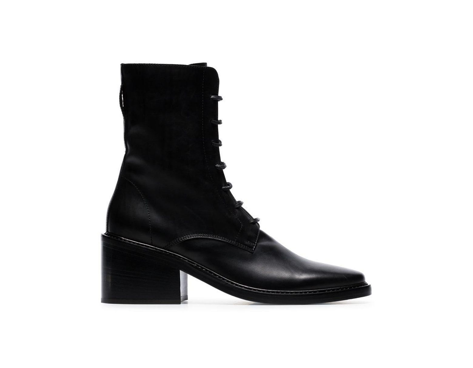 24ba4cd82450c Ann Demeulemeester Black Lace-up Leather Ankle Boots in Black - Save ...